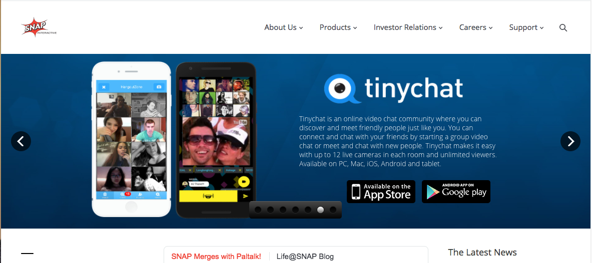 A screen shot of Snap Interactive's website feature one of its chatting apps.