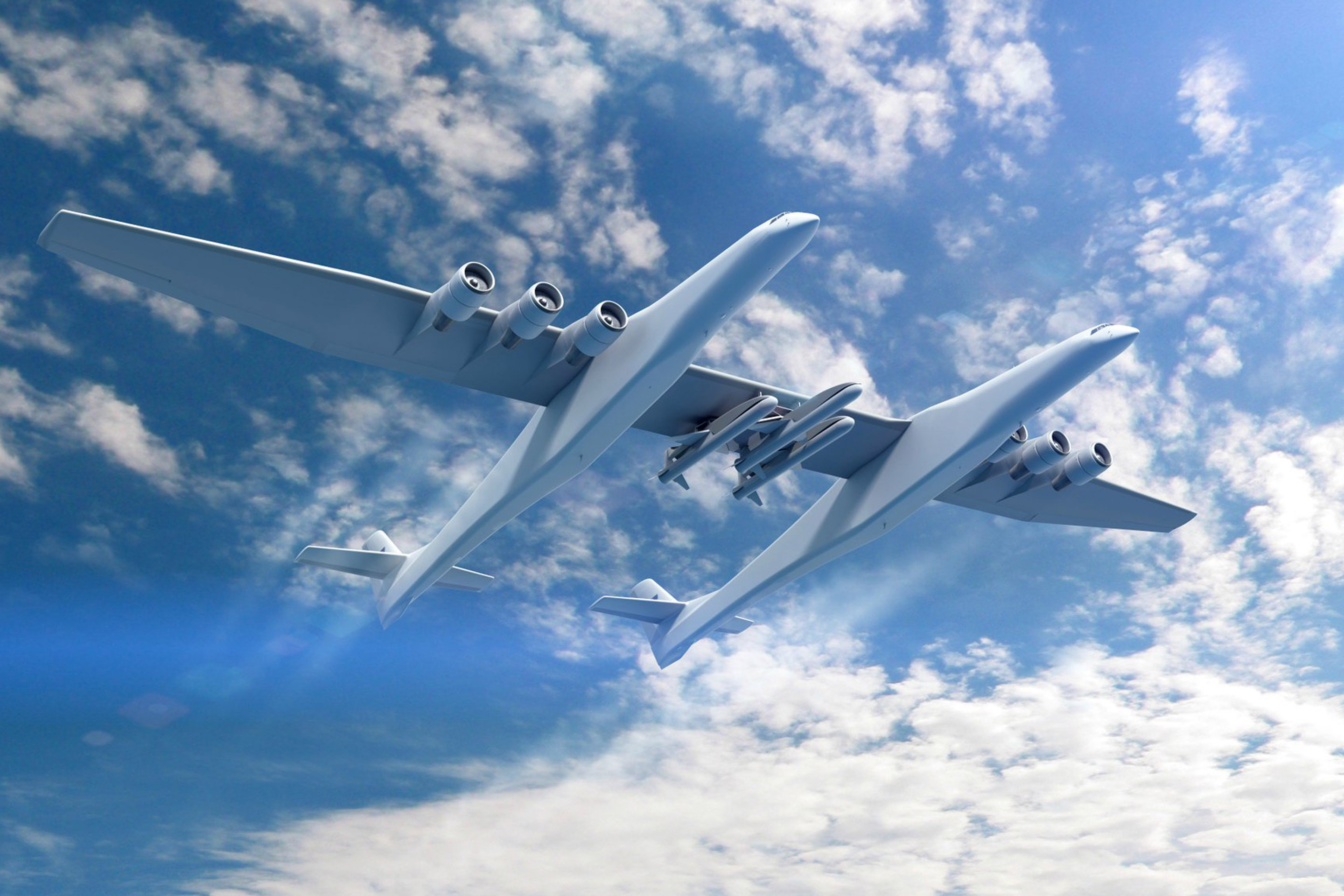 A rendering of a Stratolaunch. When completed, it will be the world's largest composite aircraft and have the largest wing span of any airplane ever built.