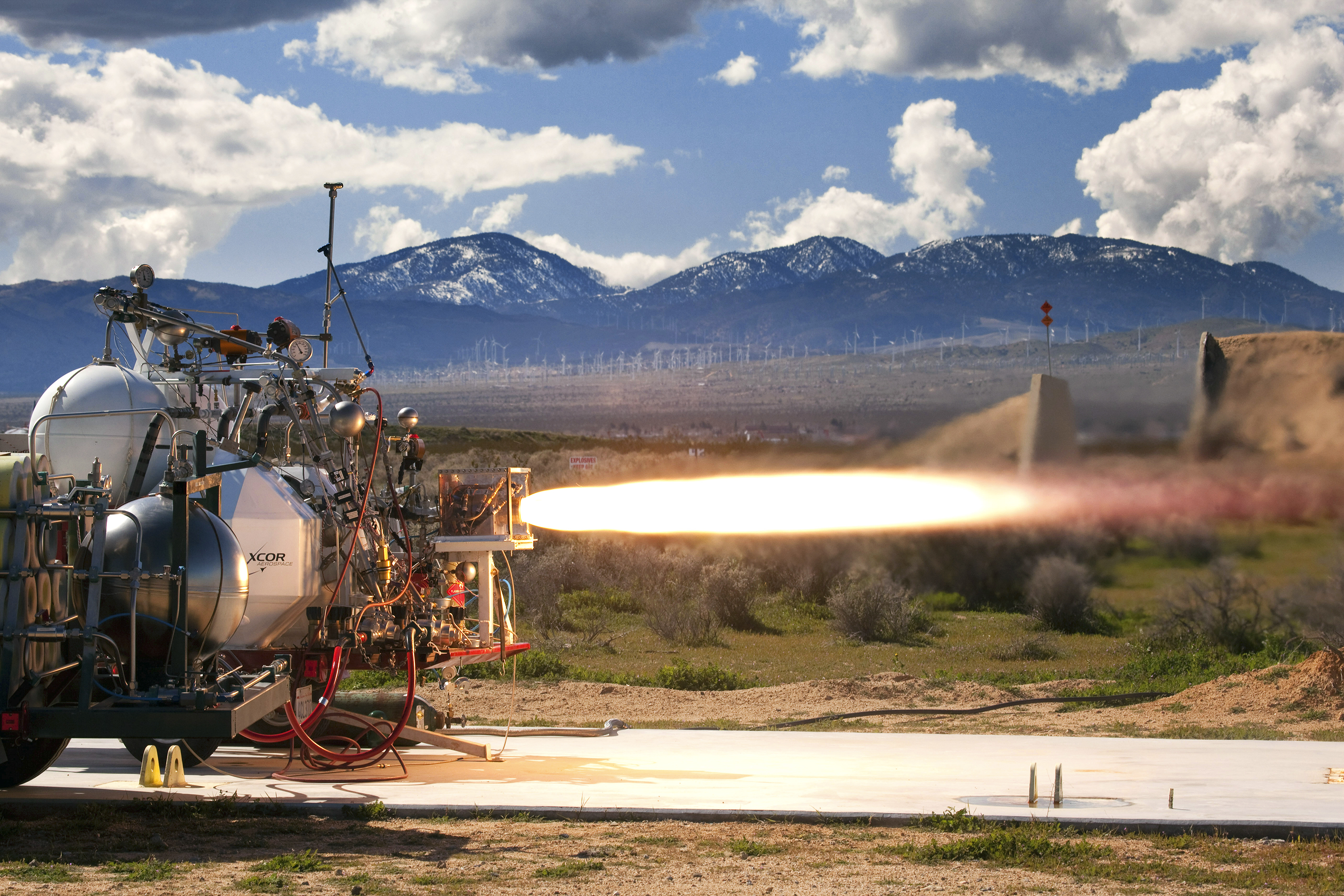 XCOR tests an engine prototype for a ­reusable spacecraft.