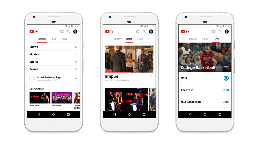 Screenshots showing YouTube TV's mobile app.