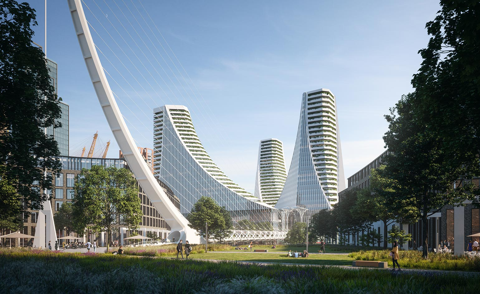 Santiago Calatrava has conceived the huge, multi-faceted Peninsula Place in Greenwich, London.