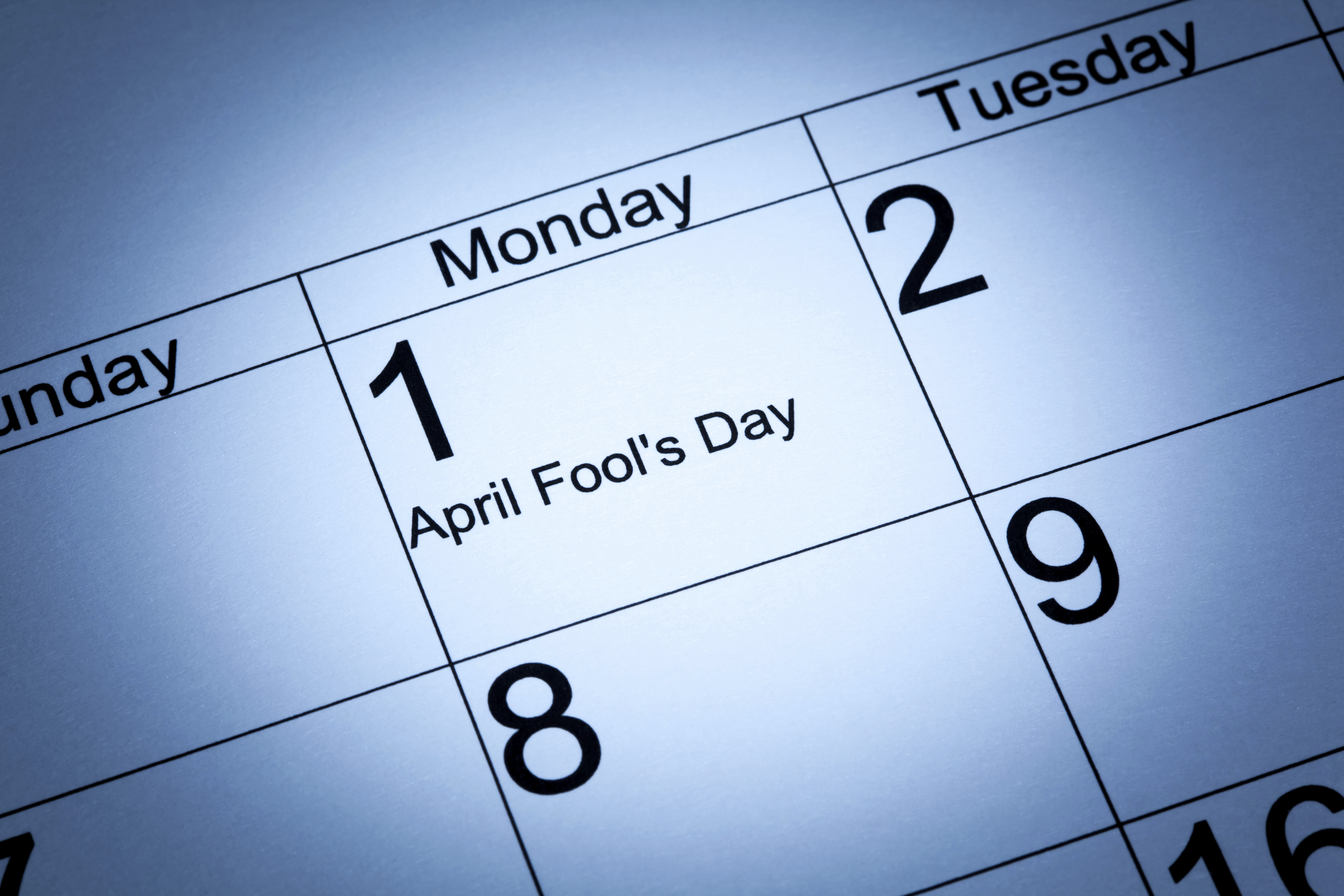 April Fool's day in the calendar