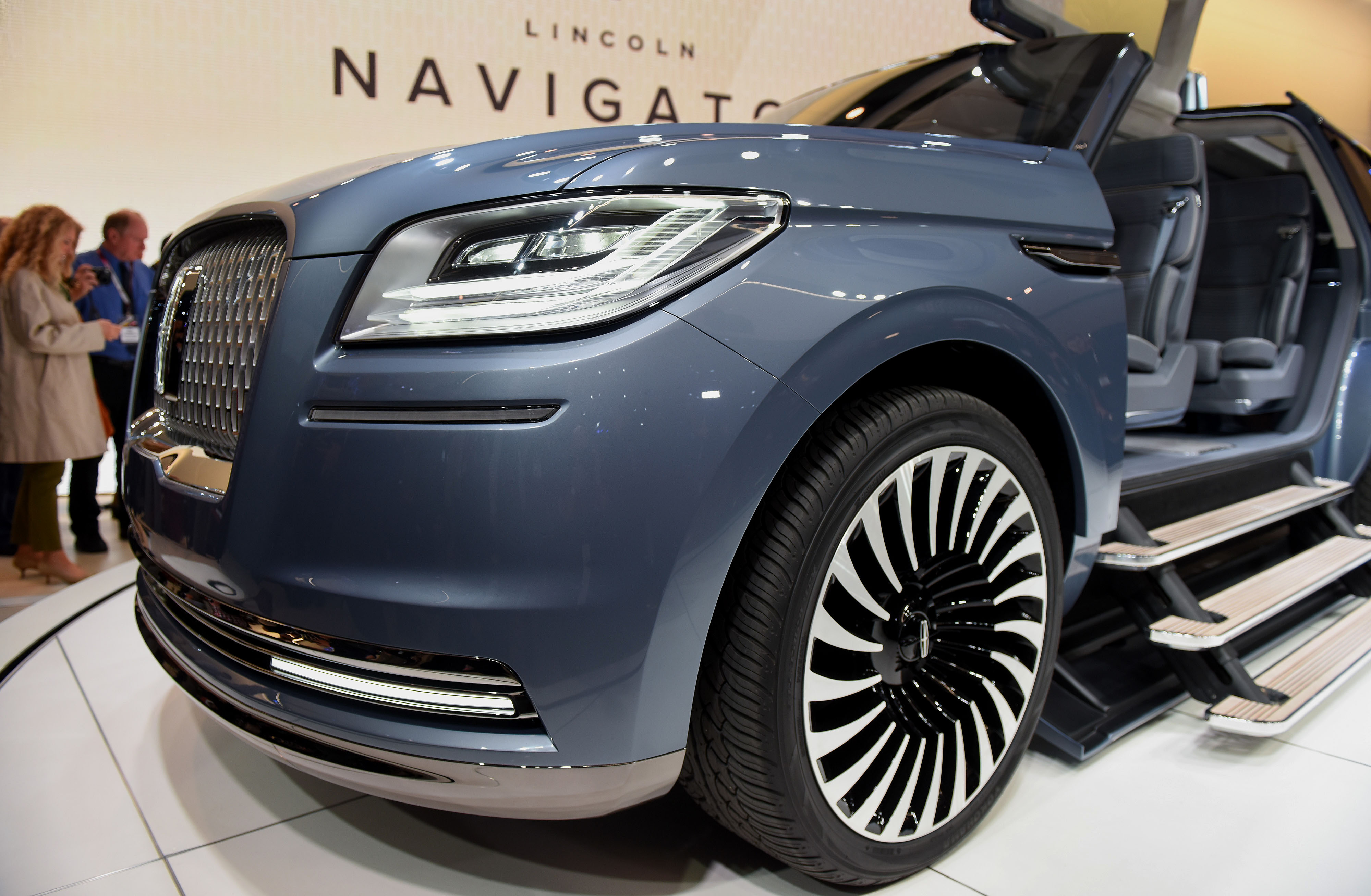 The Ford Motor Co. Lincoln Navigator concept sports utility vehicle (SUV) is displayed during the 2016 New York International Auto Show on March 23, 2016.