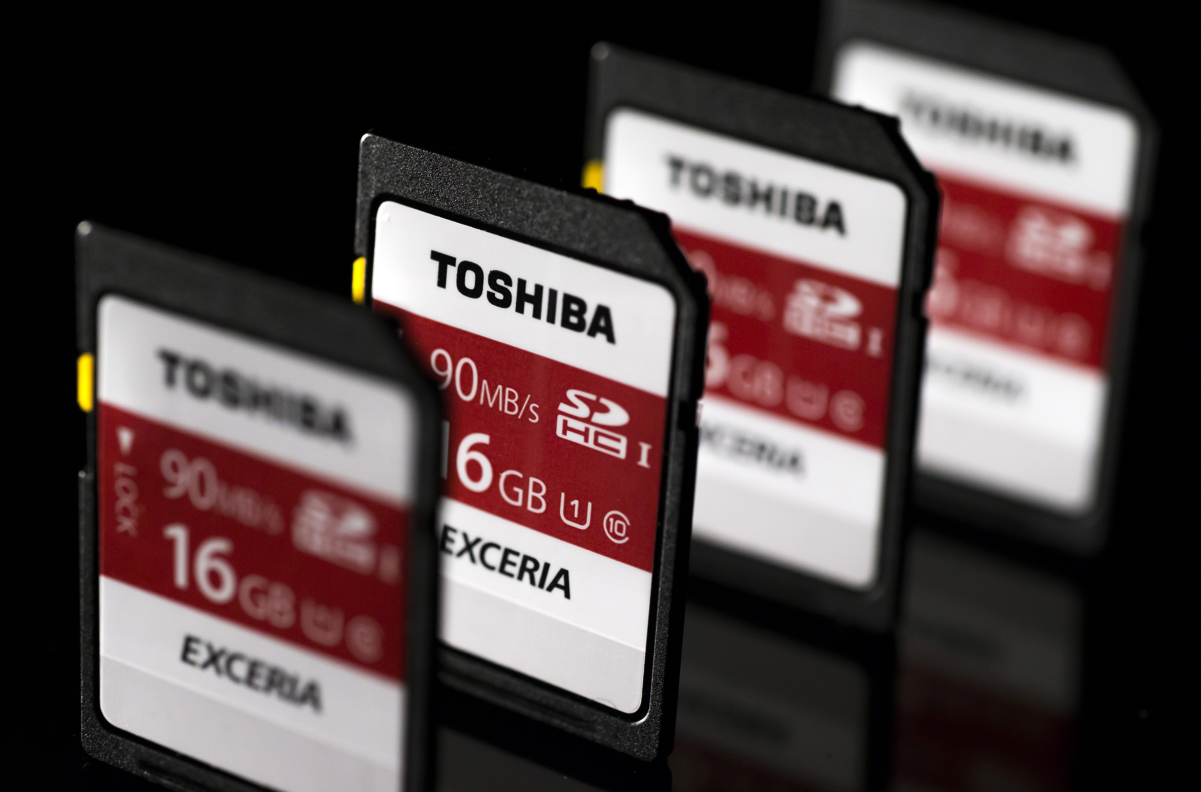 Images Of Toshiba Corp. Flash Memory Products As Company Plans To Sell Its Memory Chip Unit