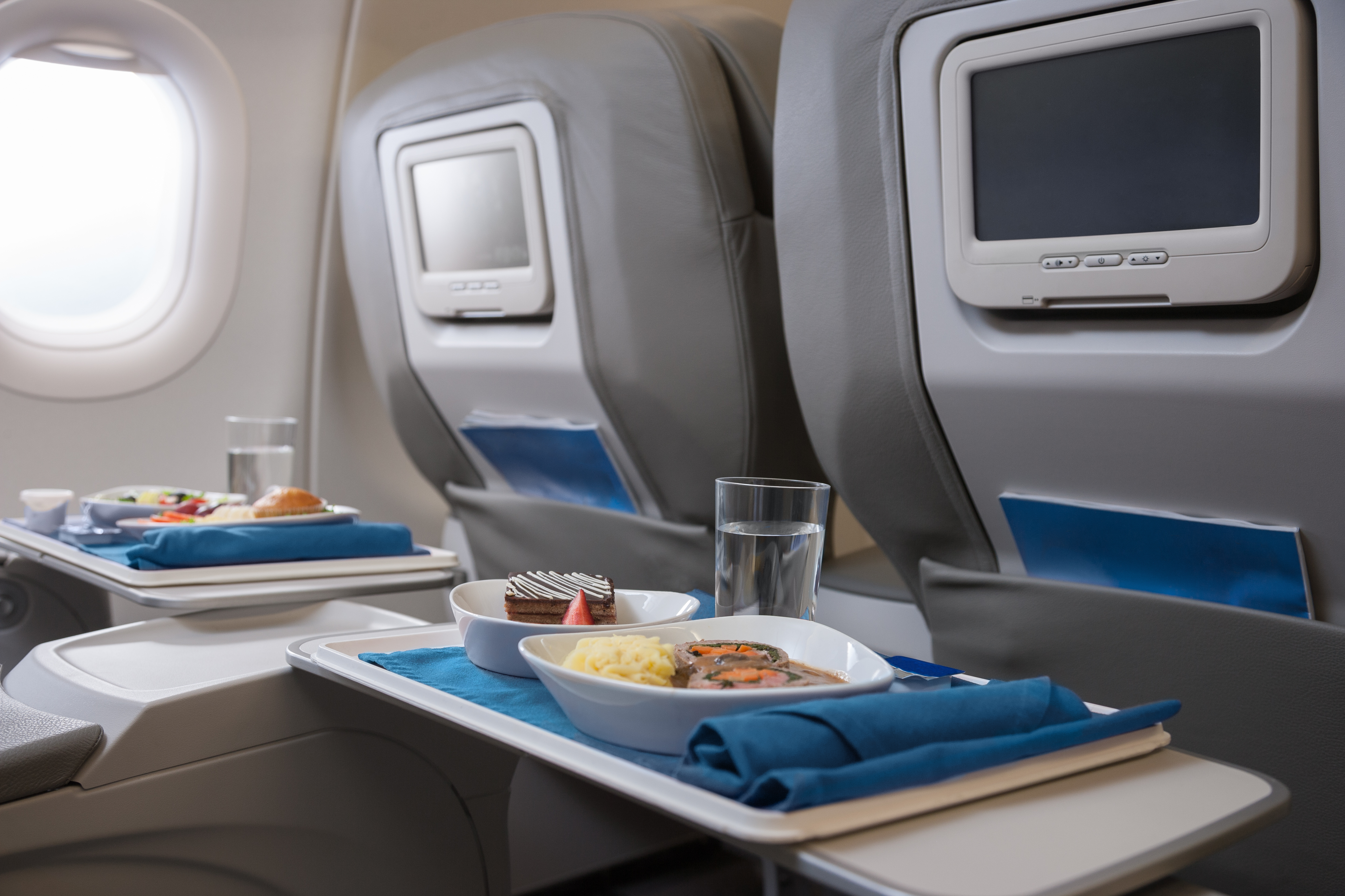 Airline meals served on seat tables