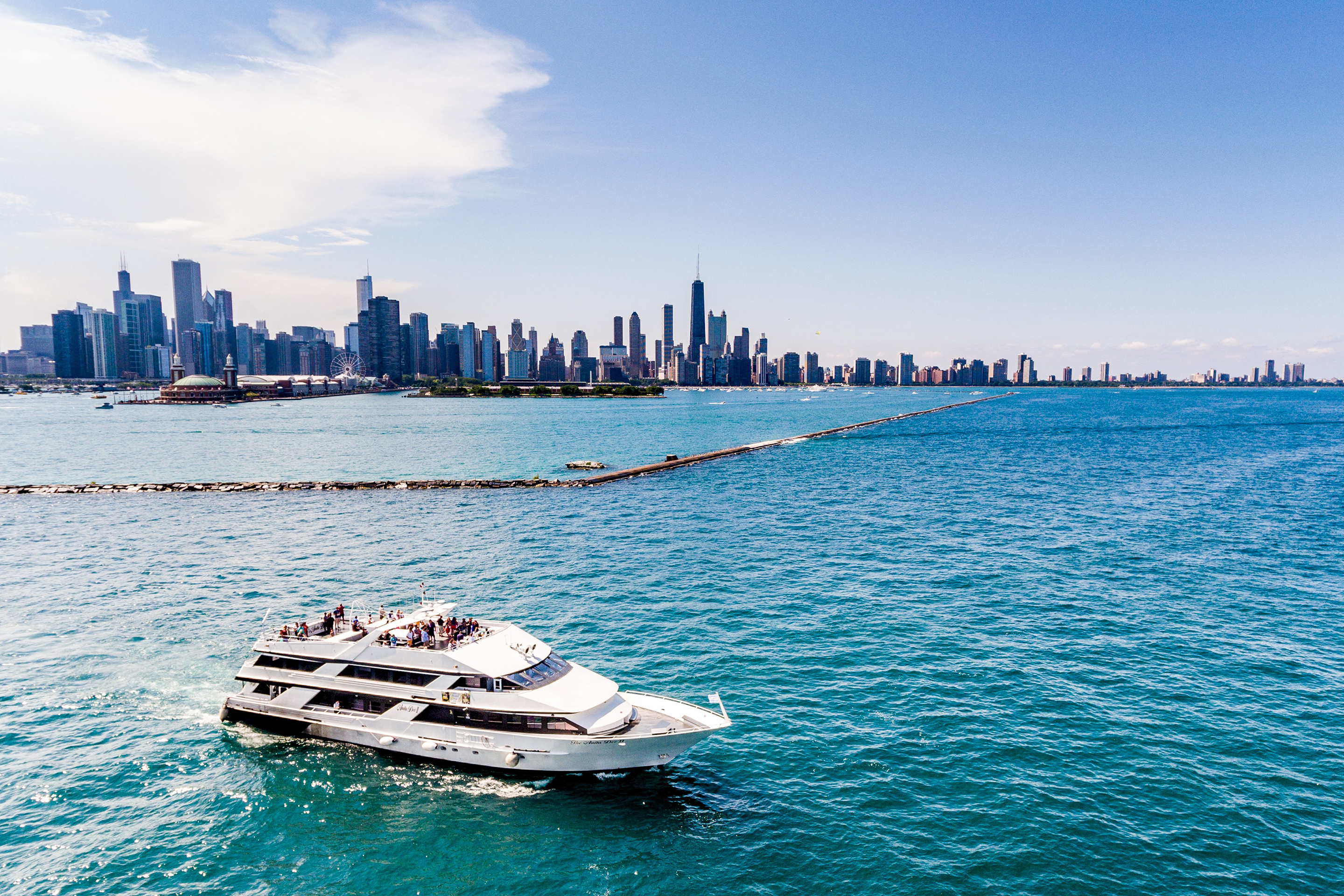 Anita Dee II yacht overlooking Chicago.