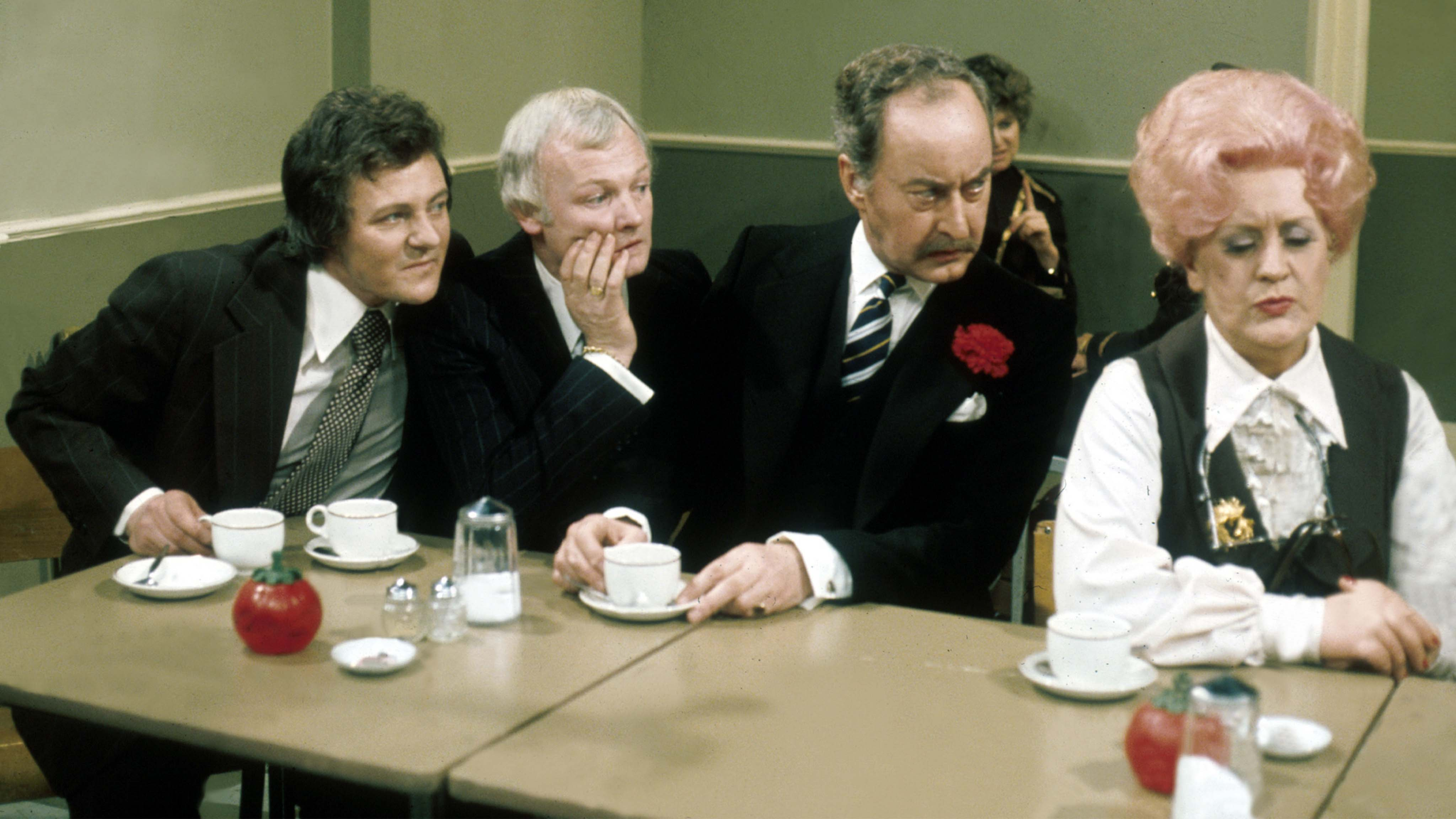 "A scene from the British television series ""Are You Being Served?"" starring actors (from L to R) Trevor Bannister, John Inman, Frank Thornton, and Mollie Sugden."