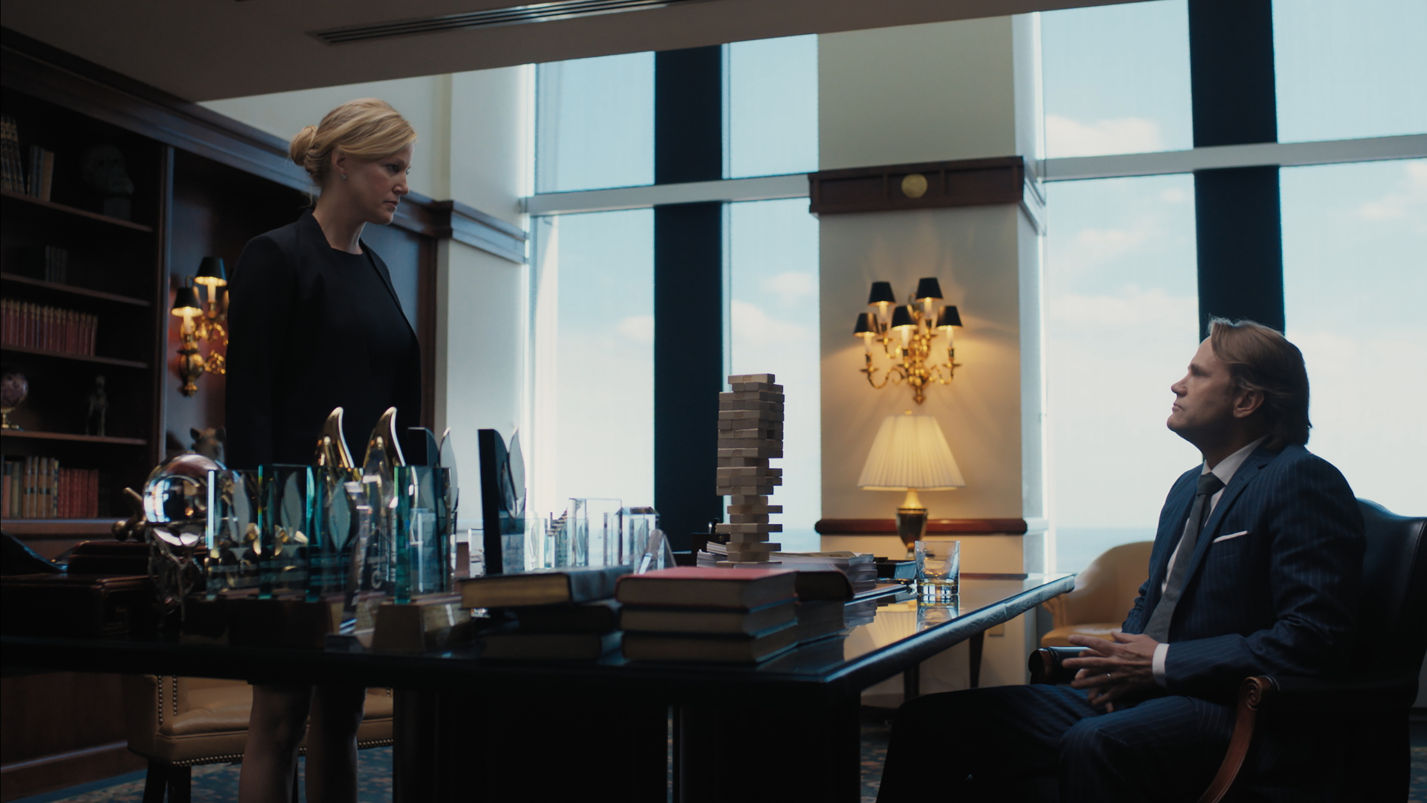 Anna Gunn and Lee Tergesen filming in Equity.