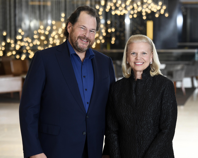 Salesforce CEO Marc Benioff and IBM CEO Ginni Rometty.