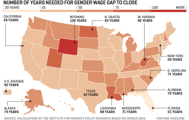 Map looks at the number of years needed for the gender wage gap to close