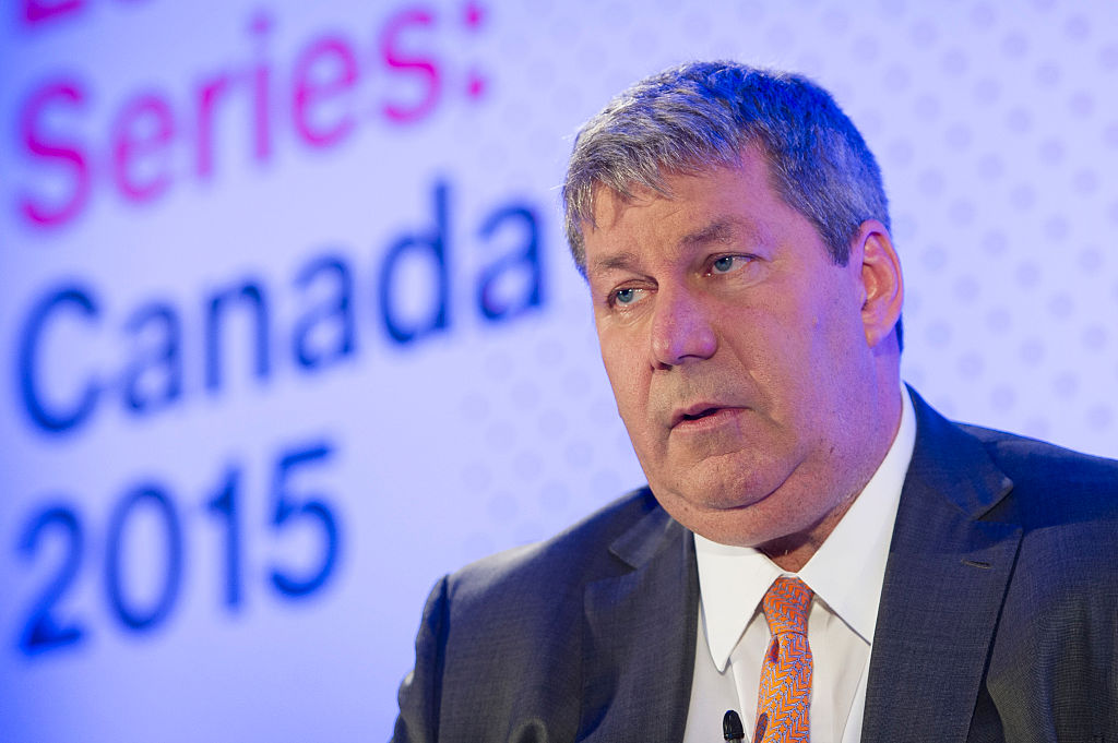 J. Michael Pearson, chief executive officer, Valeant Pharmaceuticals International Inc., speaks during the Bloomberg Economic Series: Canada 2015 in Toronto, Ontario Thursday May 21/2015. (Photo by Kevin Van Paassen/Bloomberg)
