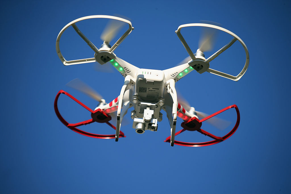 A drone is flown for recreational purposes in the sky above Old Bethpage, New York on September 5, 2015.