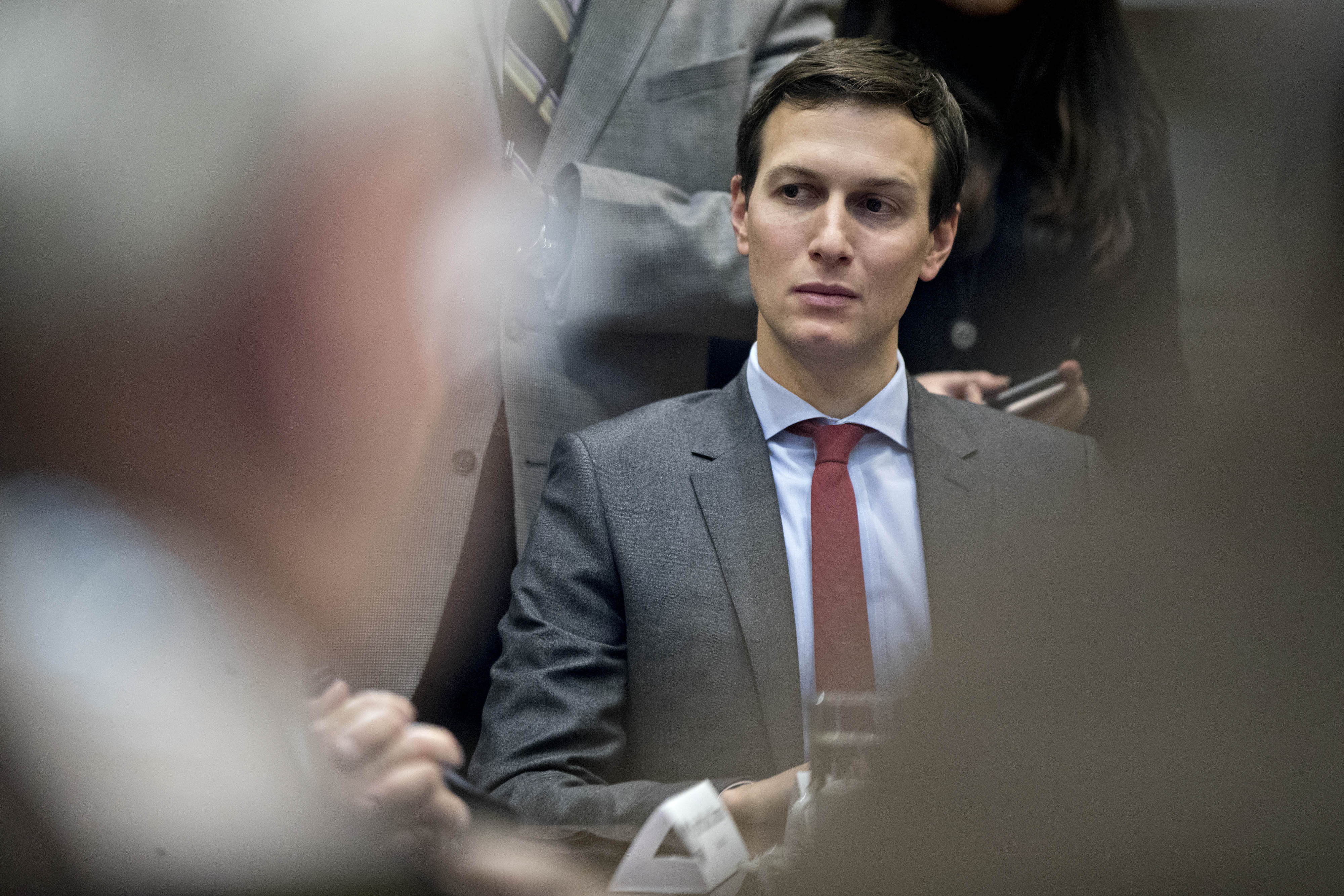 Jared Kushner, senior White House advisor, listens during a county sheriff listening session with U.S. President Donald Trump on Tuesday, Feb. 7, 2017.