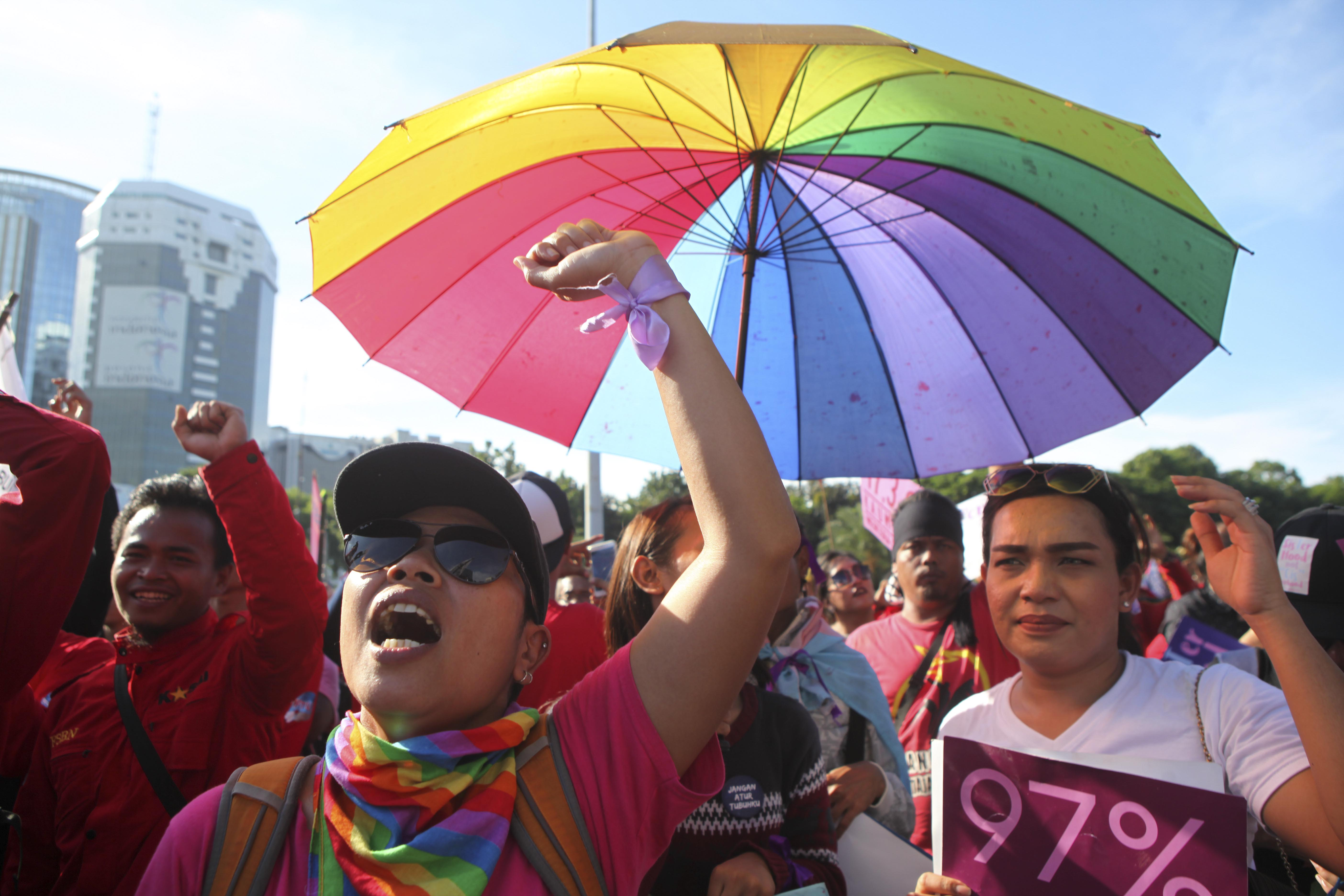 LGBT Activists Rally To Mark International Women's Day In Indonesia