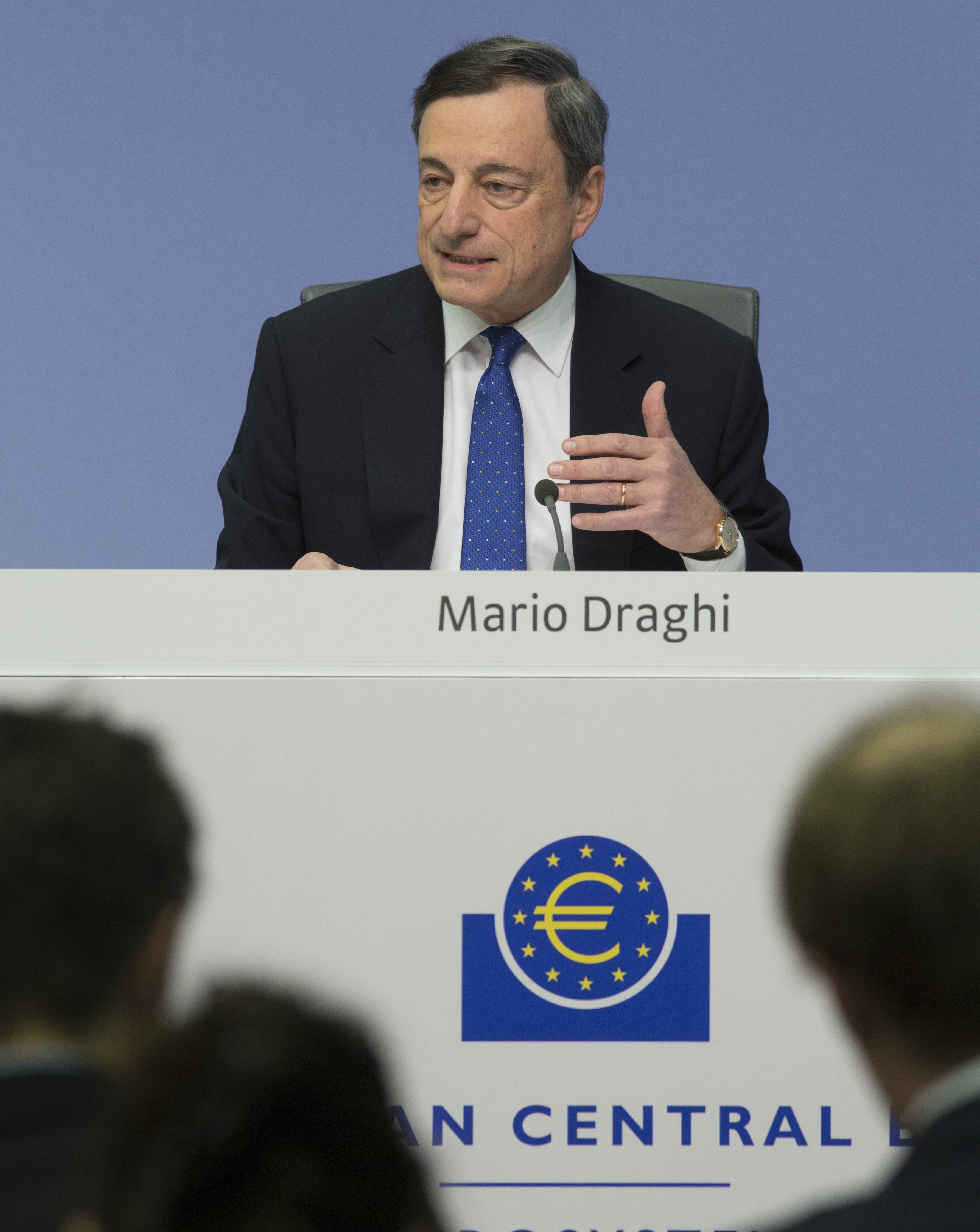 Press conference of the European Central Bank (ECB) in Frankfurt. Mario Draghi, President of the ECB, during the press conference.