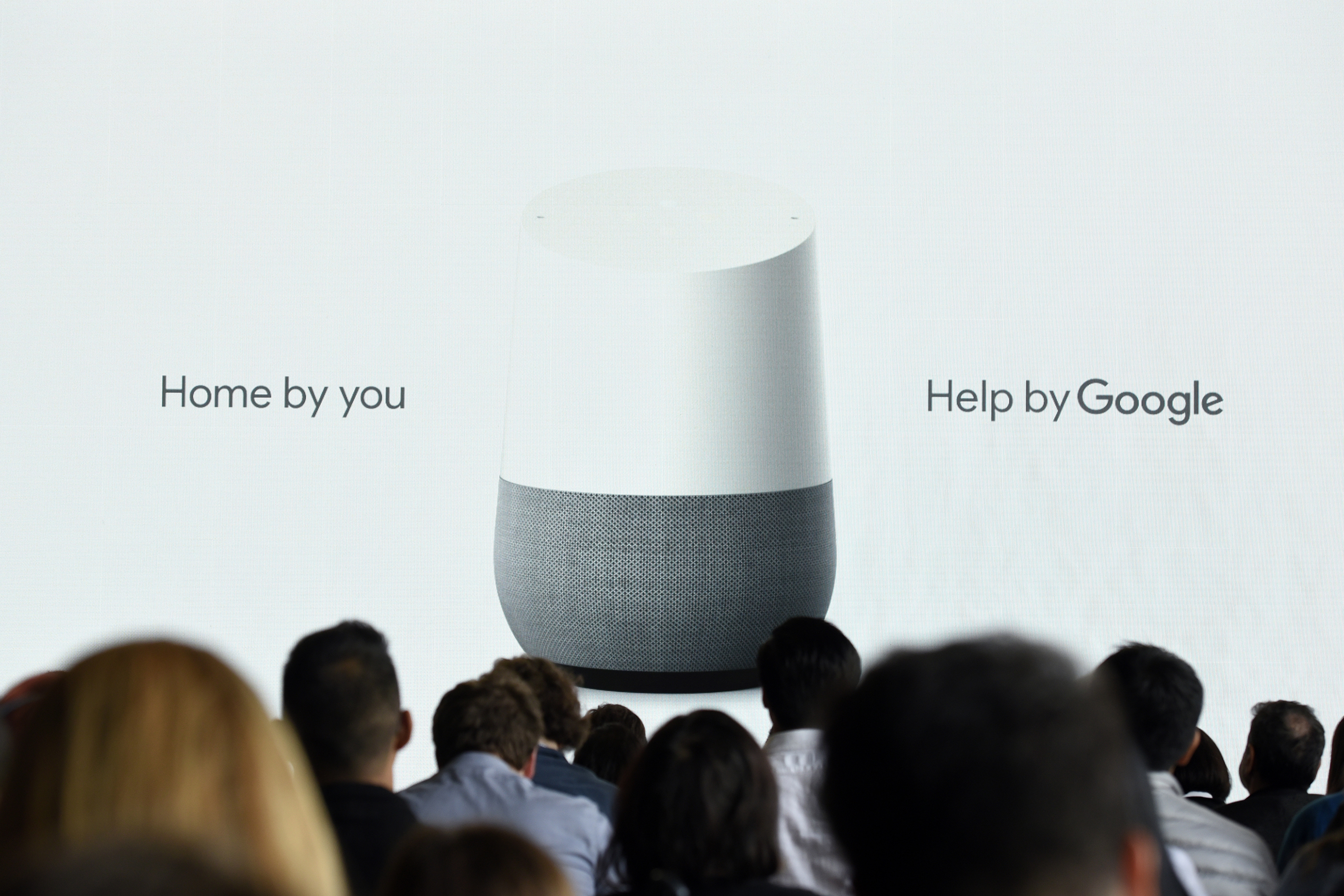 The Google Inc. Home device is displayed on screen during a Google product launch event in San Francisco, California, U.S., on Tuesday, Oct. 4, 2016.
