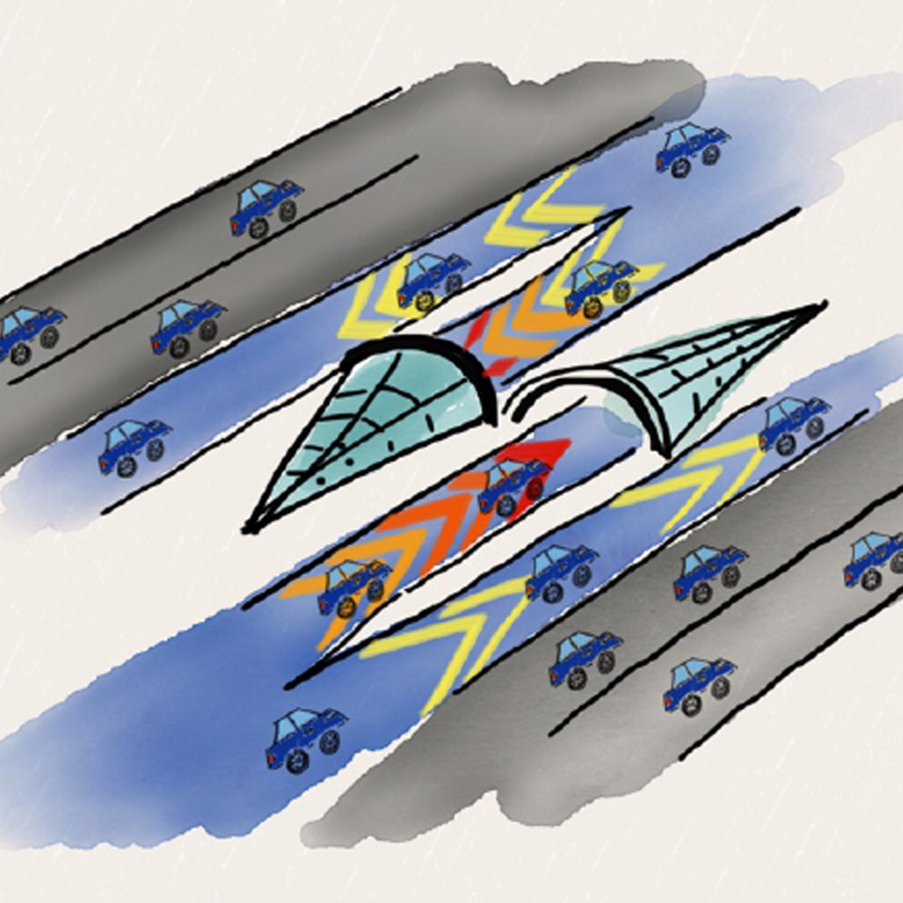 Hyperlane concept design where autonomous vehicles move in high-speed traffic-free lanes on the right