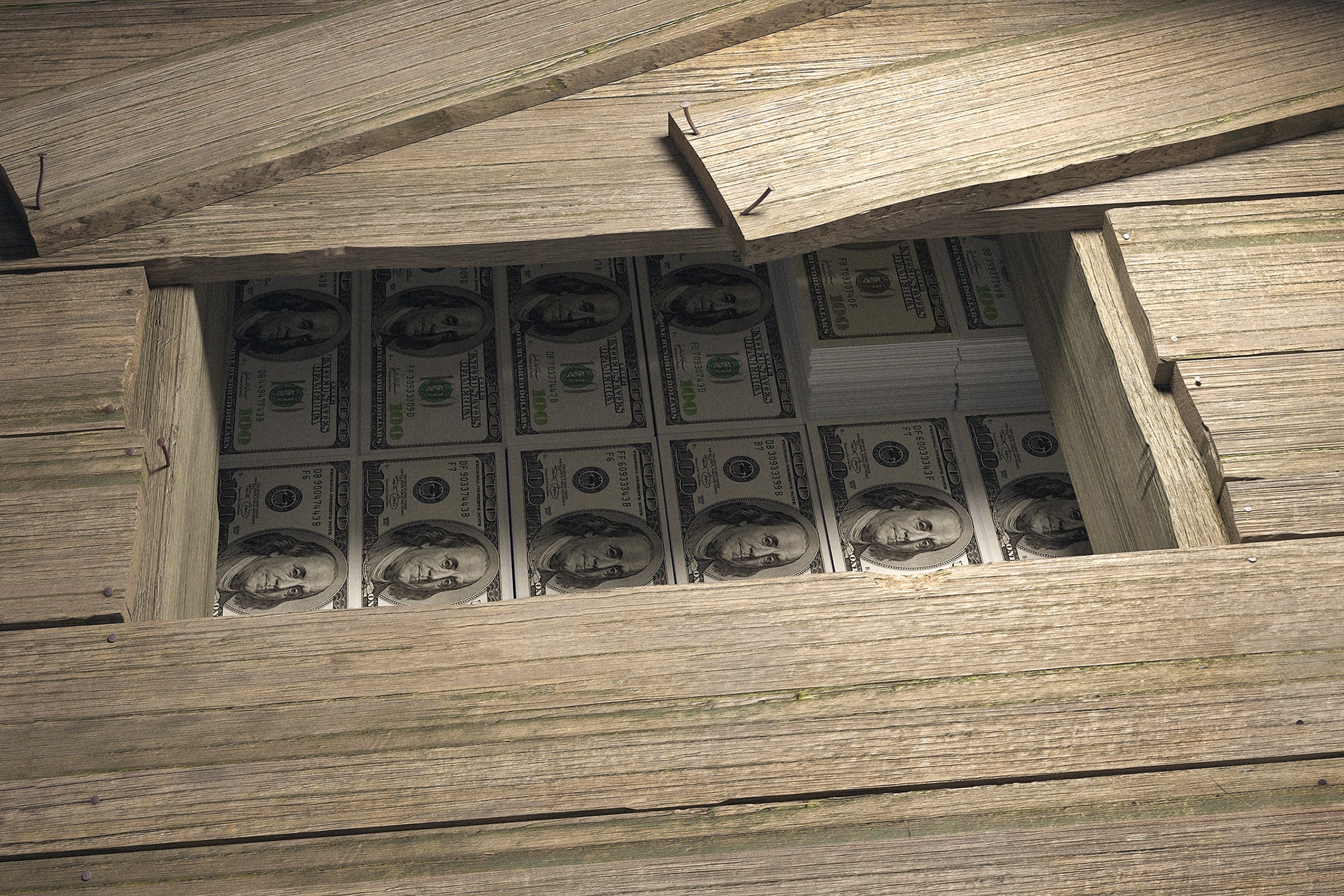 Dollar bills hidden under floorboards