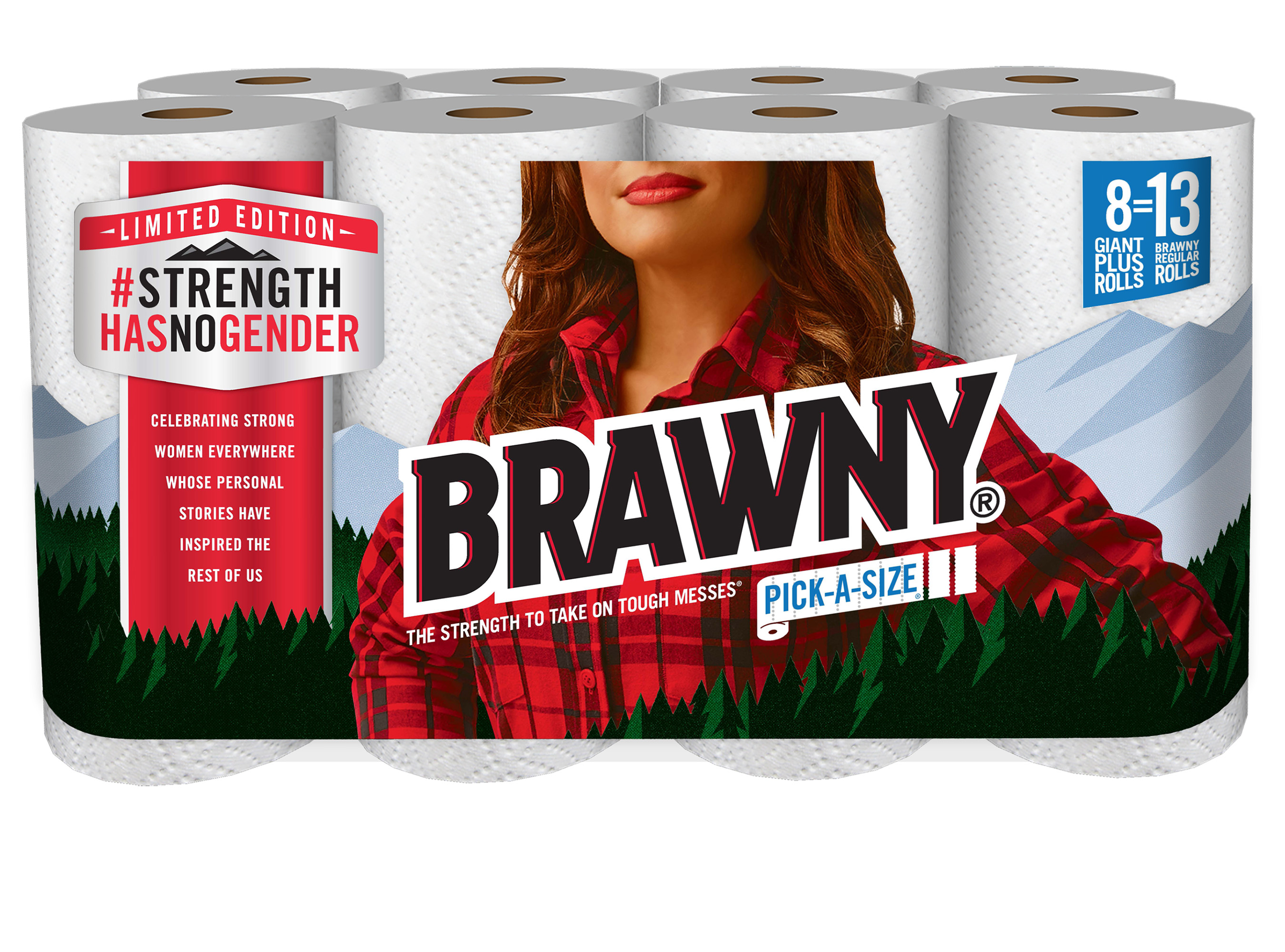 The limited-edition Brawny packaging.