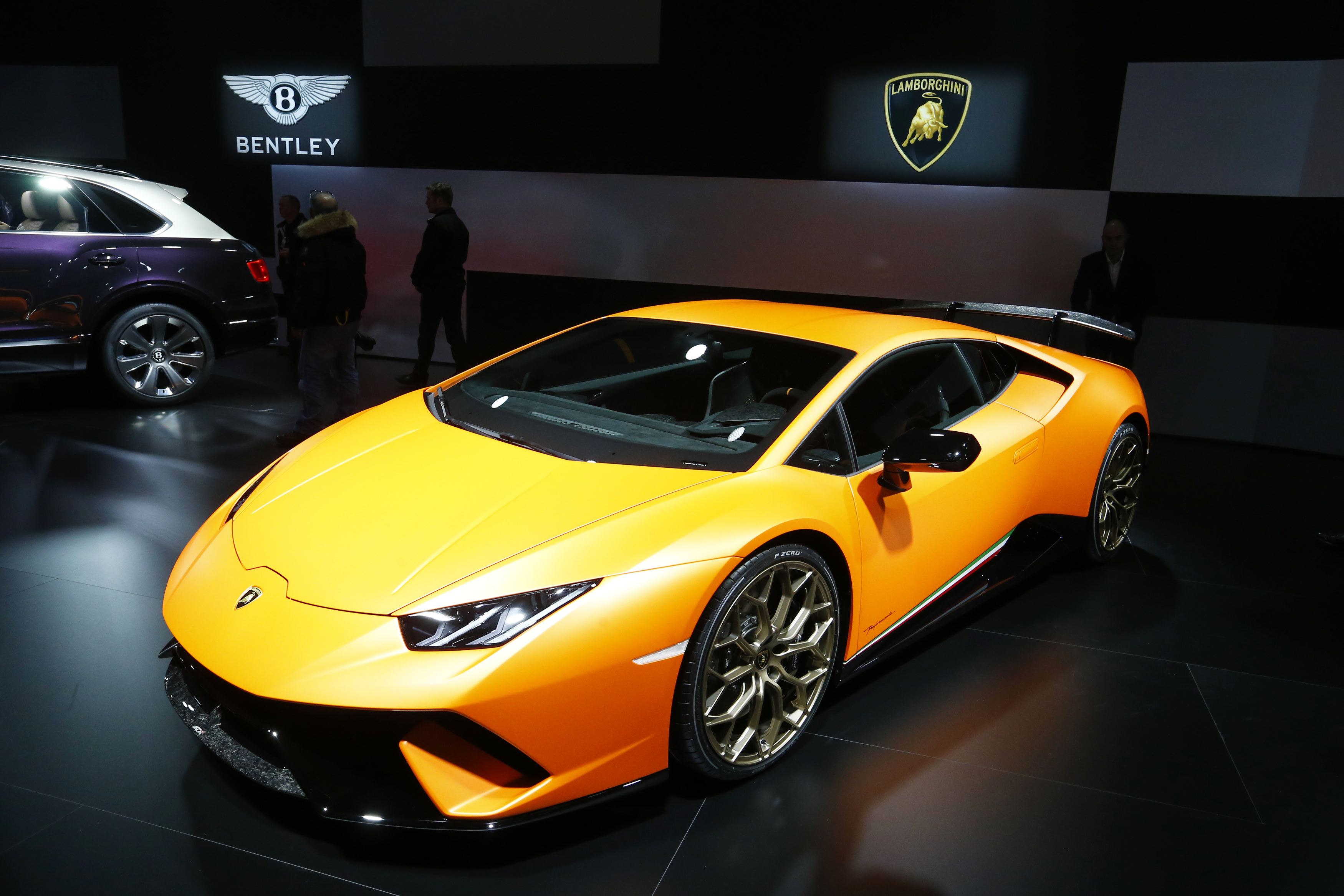 Lamborghini Huracan Performante car is seen during the 87th International Motor Show at Palexpo in Geneva