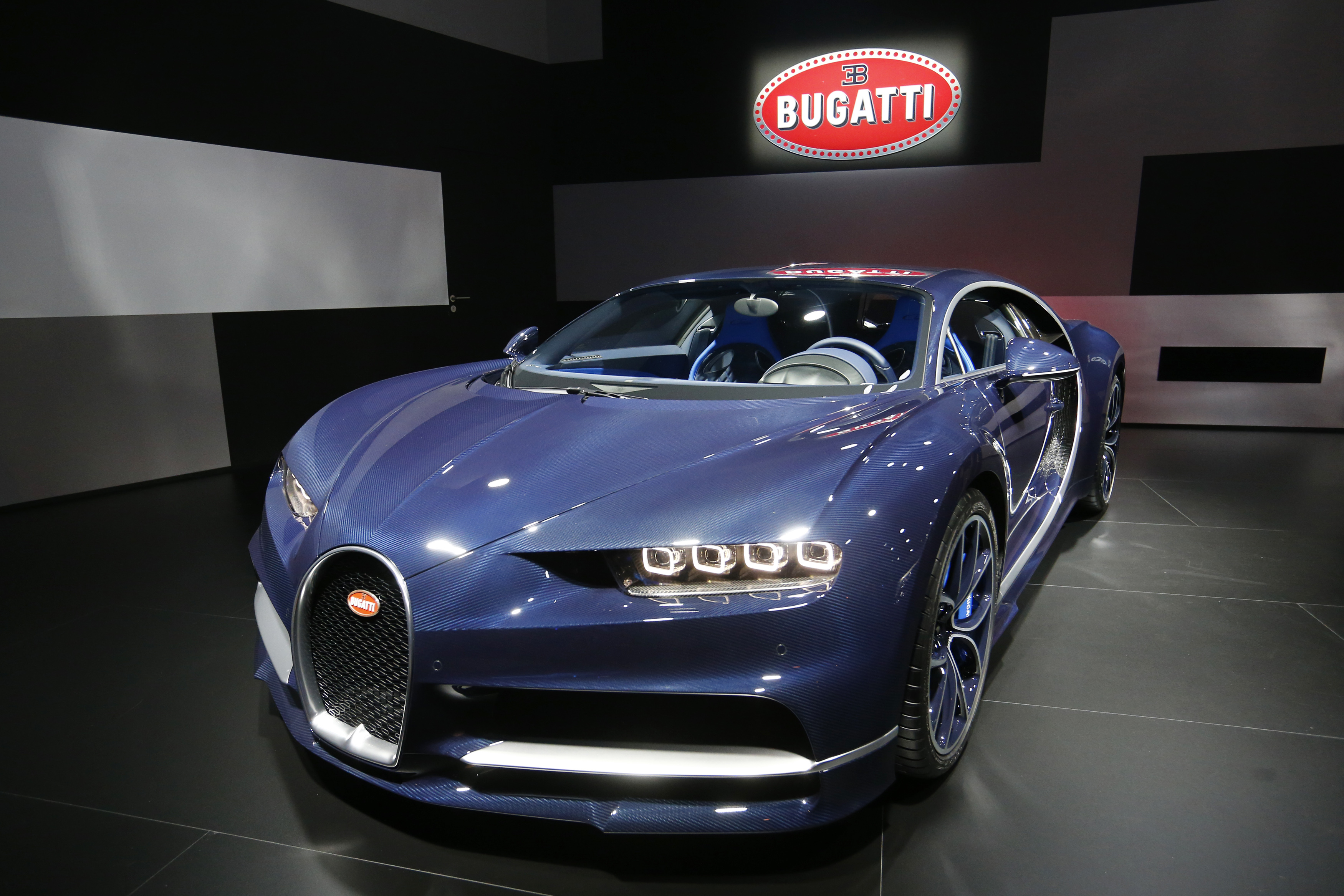 Bugatti Chiron car is seen during the 87th International Motor Show at Palexpo in Geneva