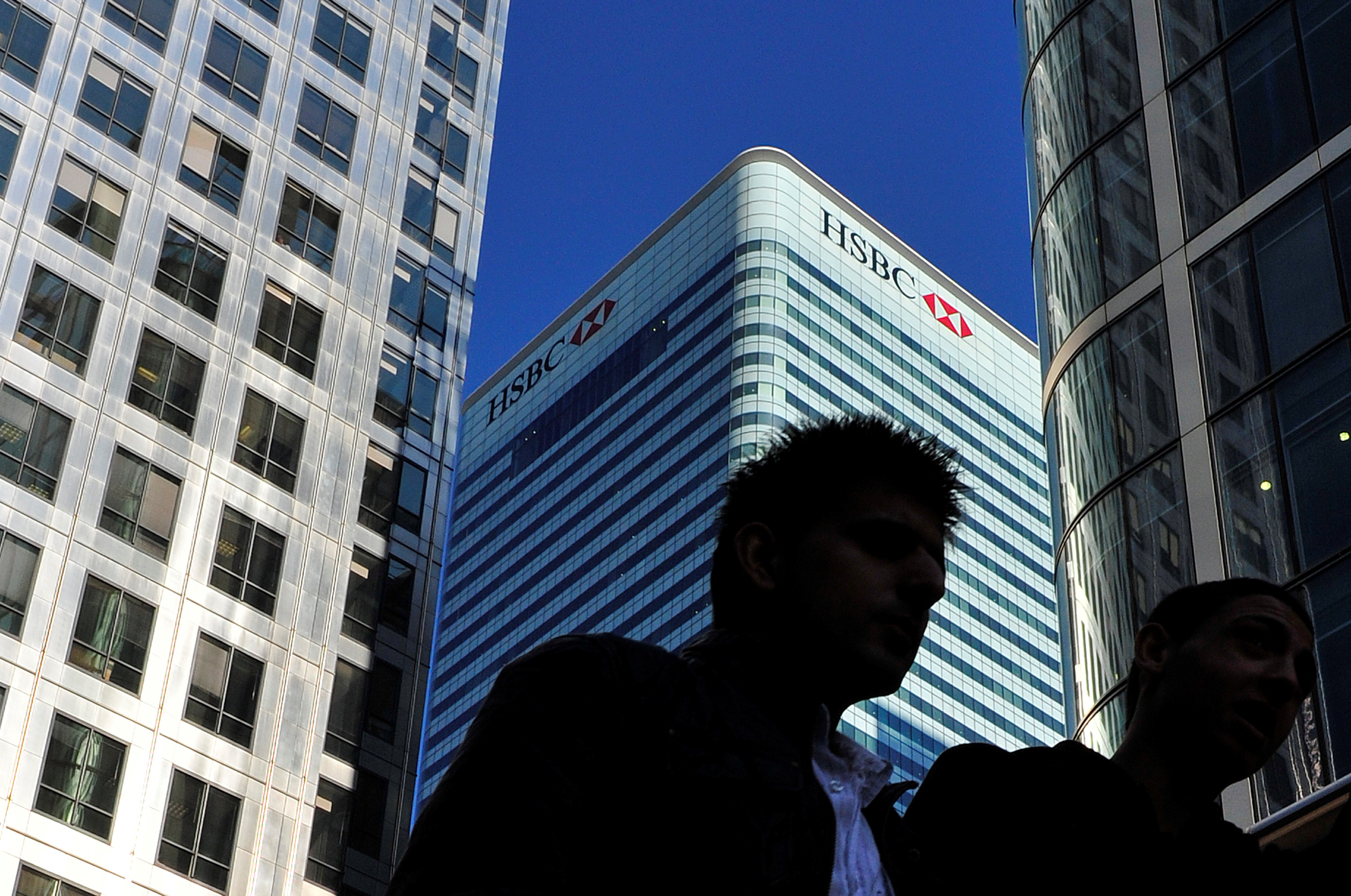 FILE PHOTO: The HSBC headquarters building is seen in the Canary Wharf financial district in London