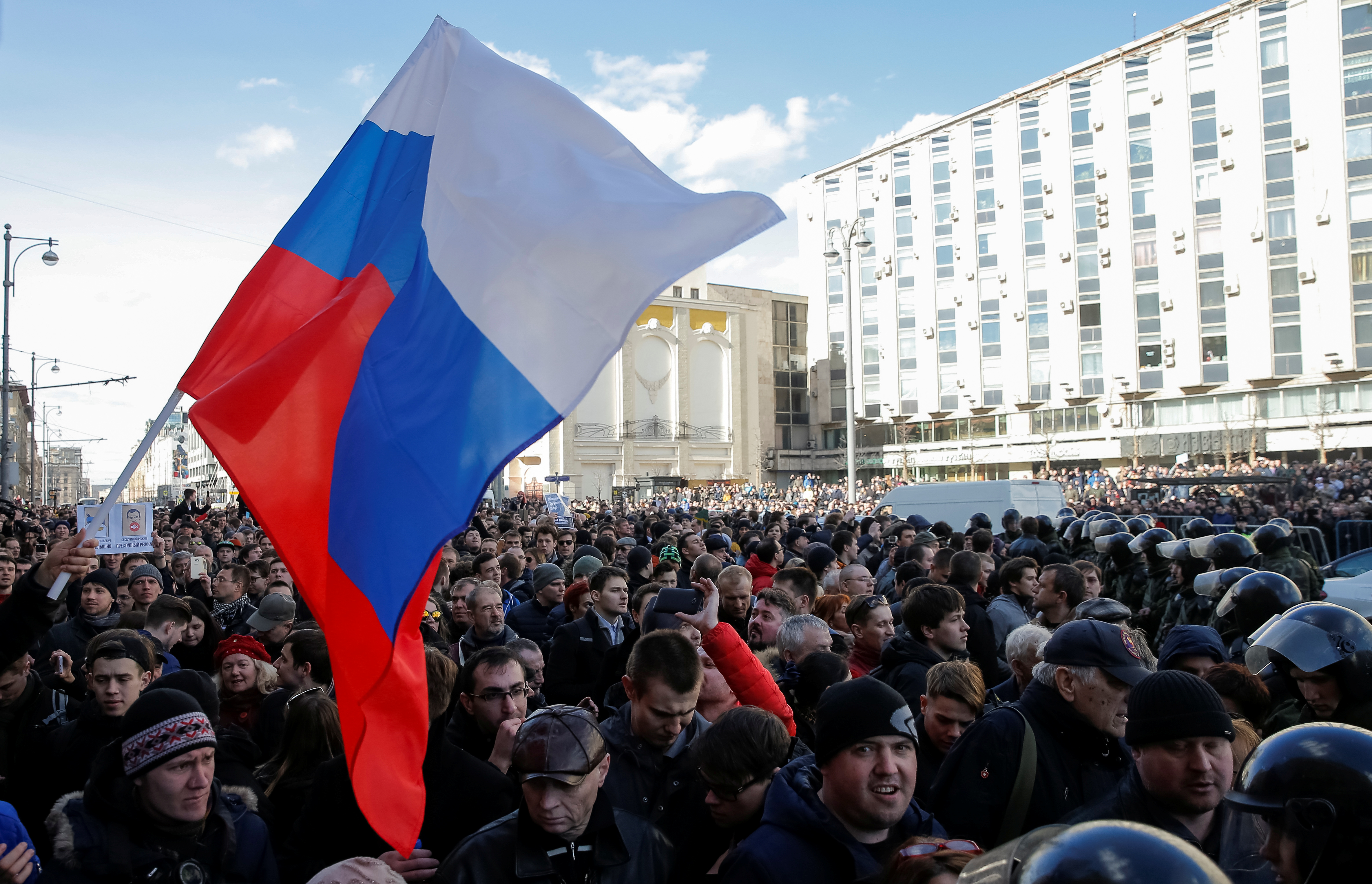 Opposition supporters attend a rally in Moscow