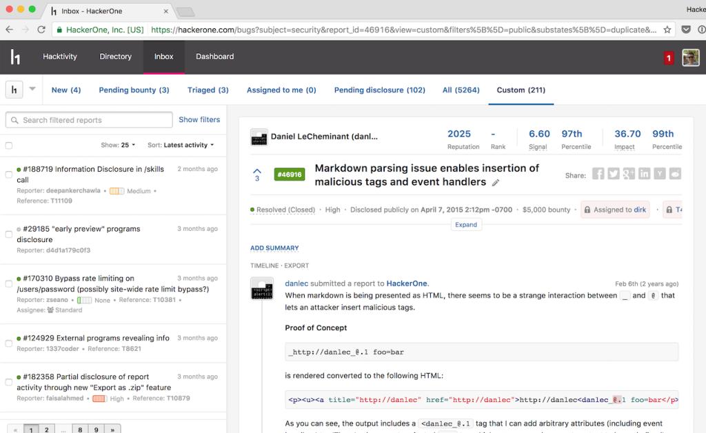 HackerOne screenshot