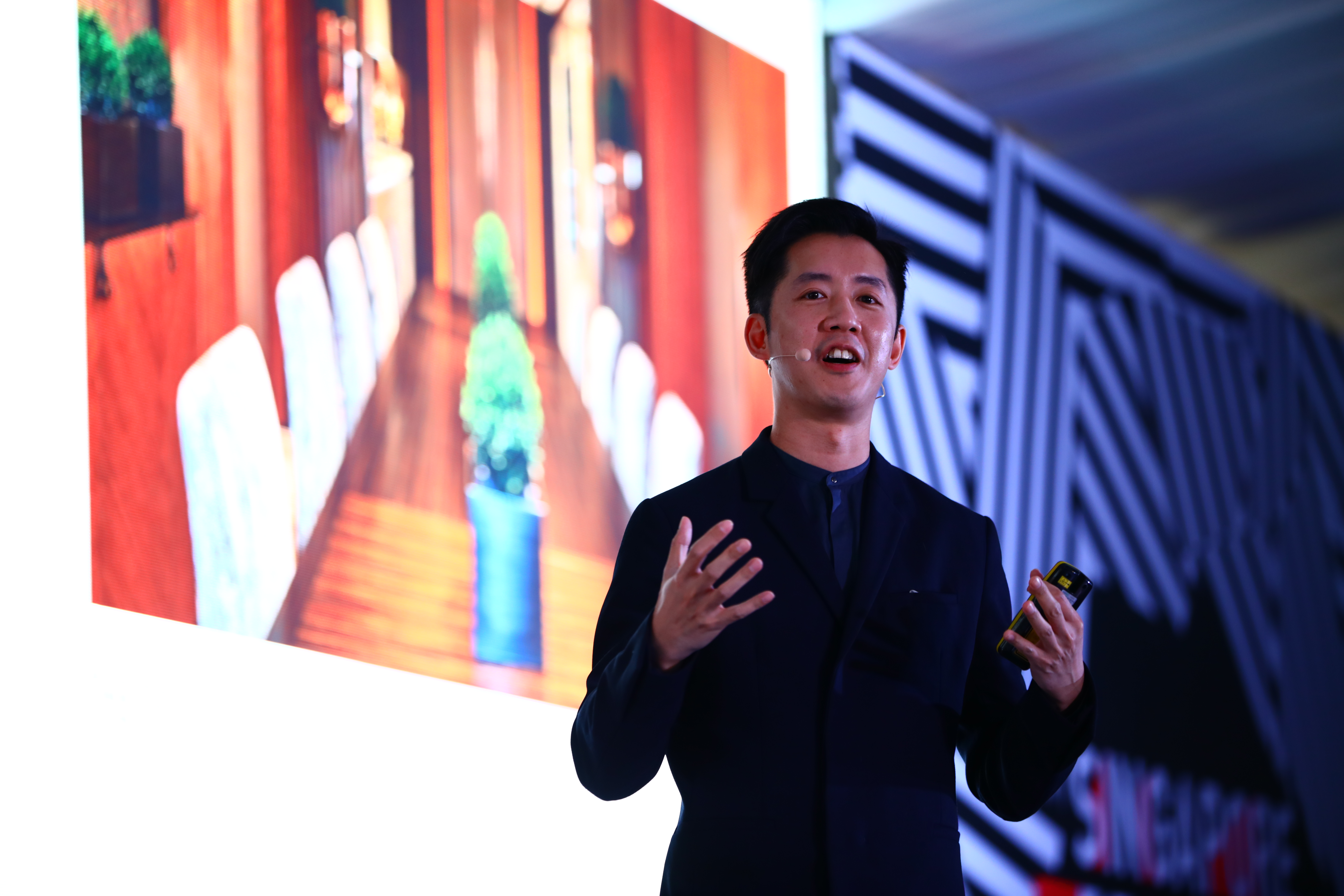 Andre Fu, architect and founder of AFSO, presenting at Singapore Design Week's Innovation by Design Conference.