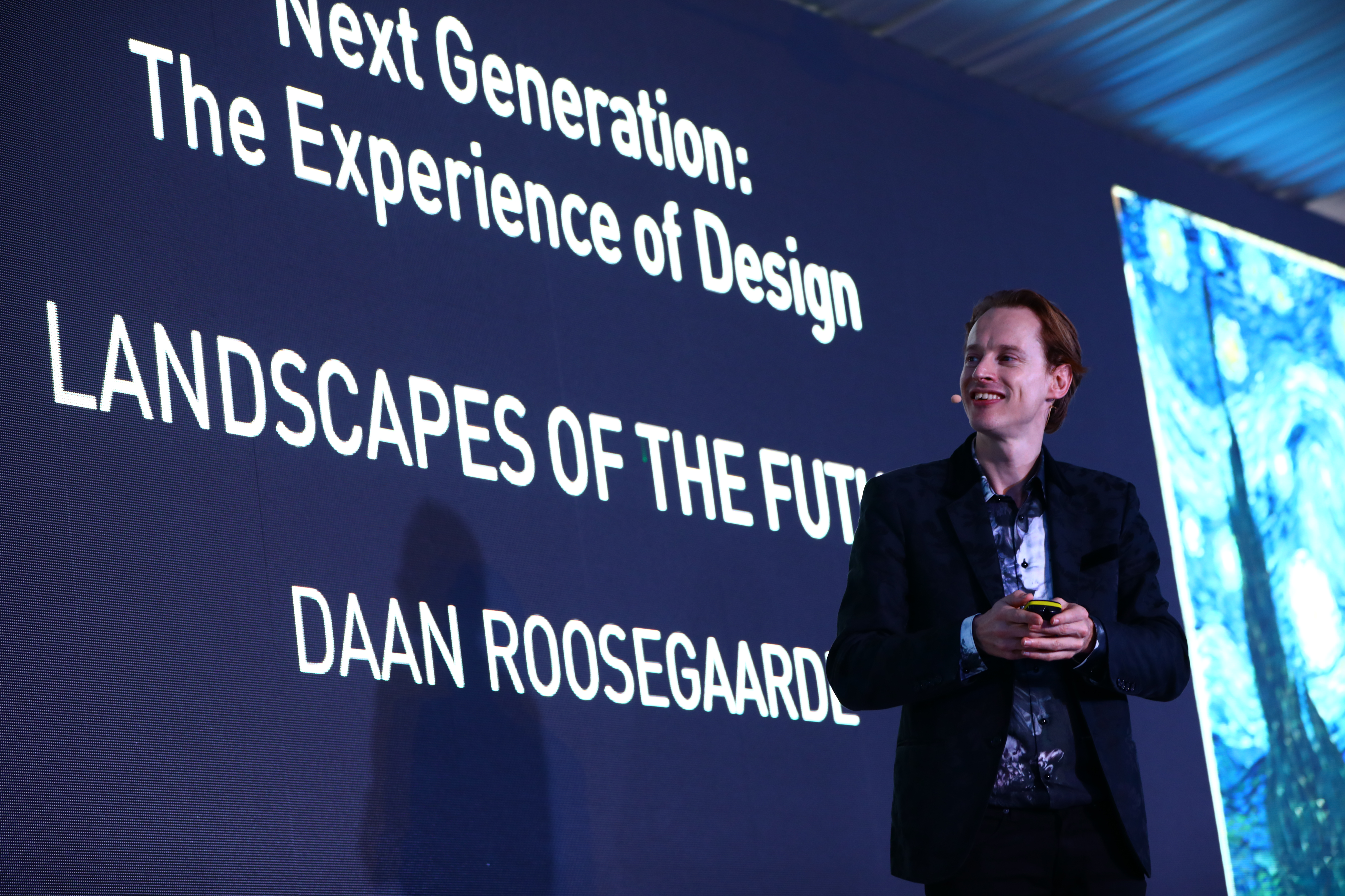 Daan Roosegaarde, founder of Studio Roosegaarde, presenting at the Innovation by Design Conference at Singapore Design Week.