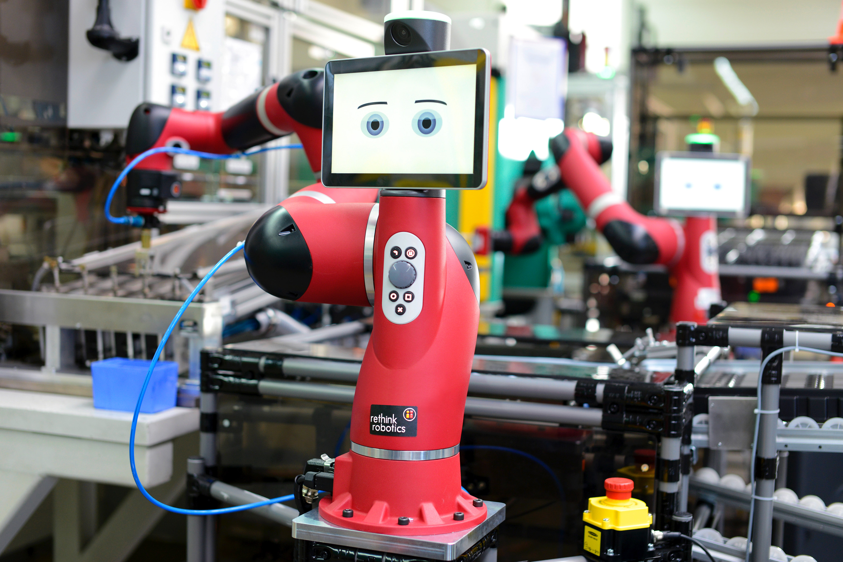 """A """"collaborative"""" robot, like this one made by Rethink Robotics, saved one company 2,400 human hours previously needed to pack a single part."""