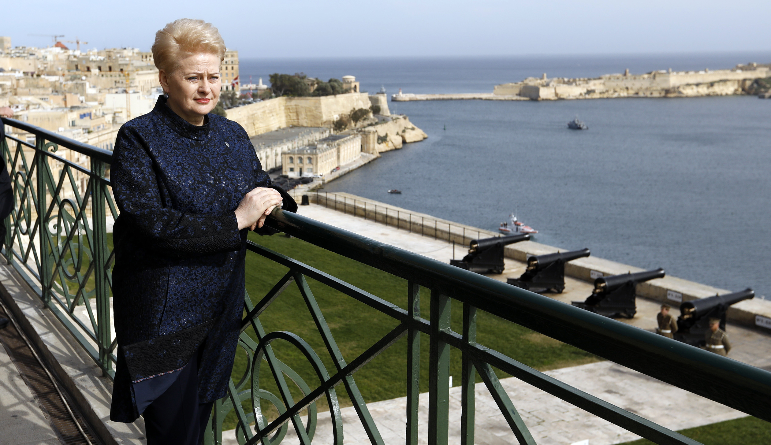 Lithuanian President Dalia Grybauskaite visits a vantage point overlooking Valletta during a break in the European Union leaders summit in Malta