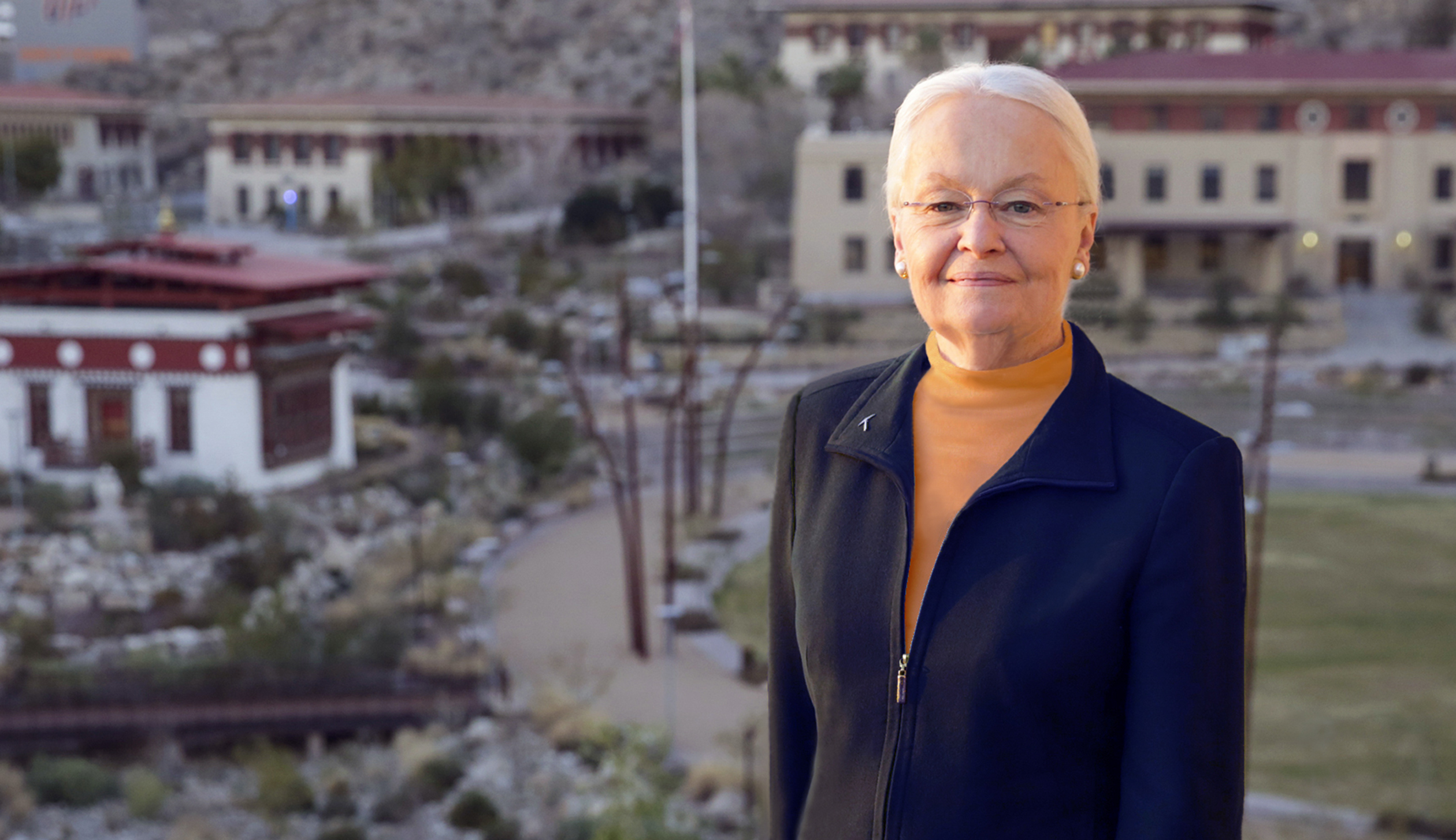 Dr. Diana Natalicio's photo shoot on the roof of the Admin Building, Thursday, December 17, 2015, in El Paso, Texas. Photo by Ivan Pierre Aguirre/UTEP Communications