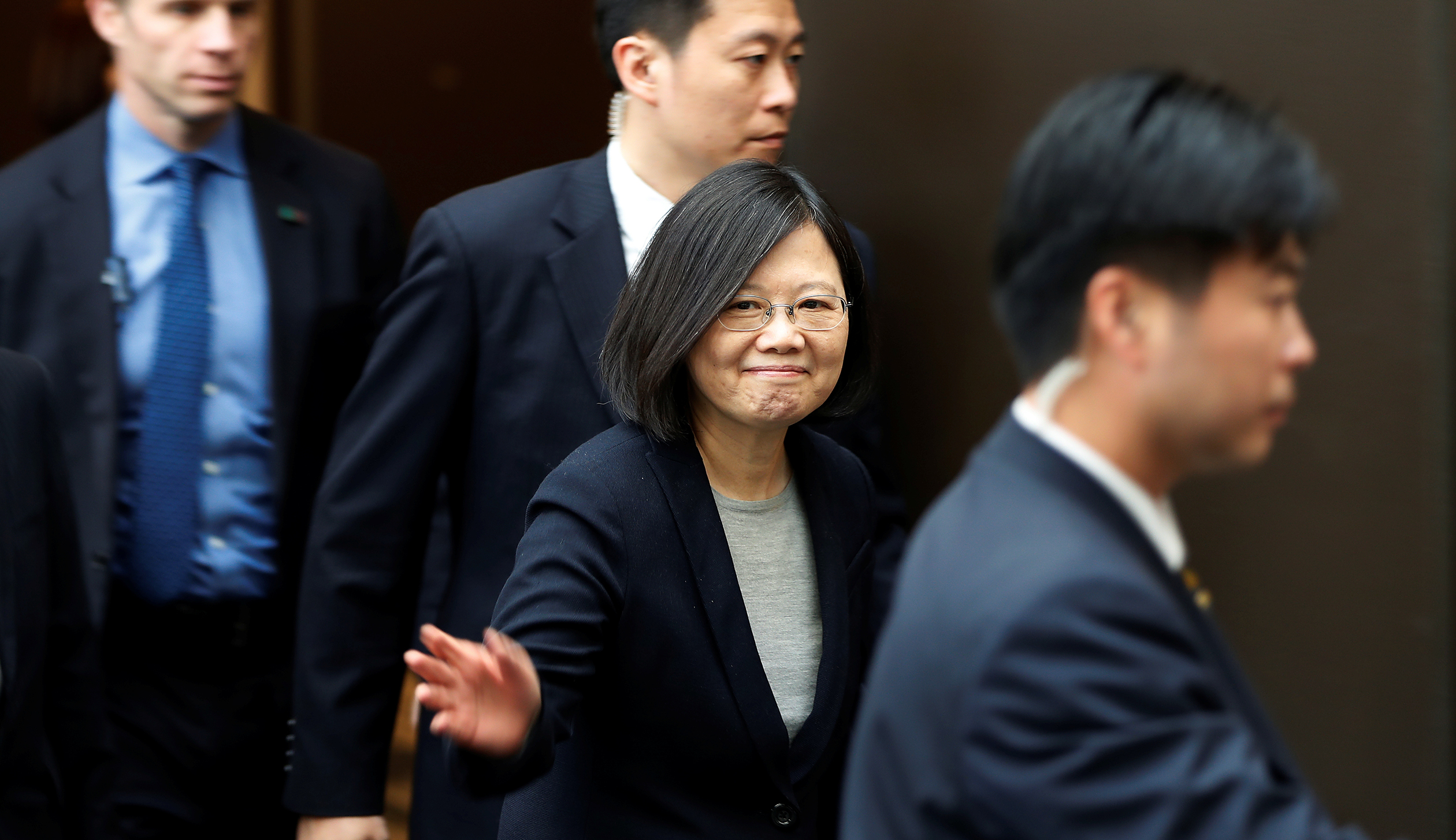 Taiwan President Tsai Ing-wen leaves a luncheon during a stop-over after her visit to Latin America in Burlingame