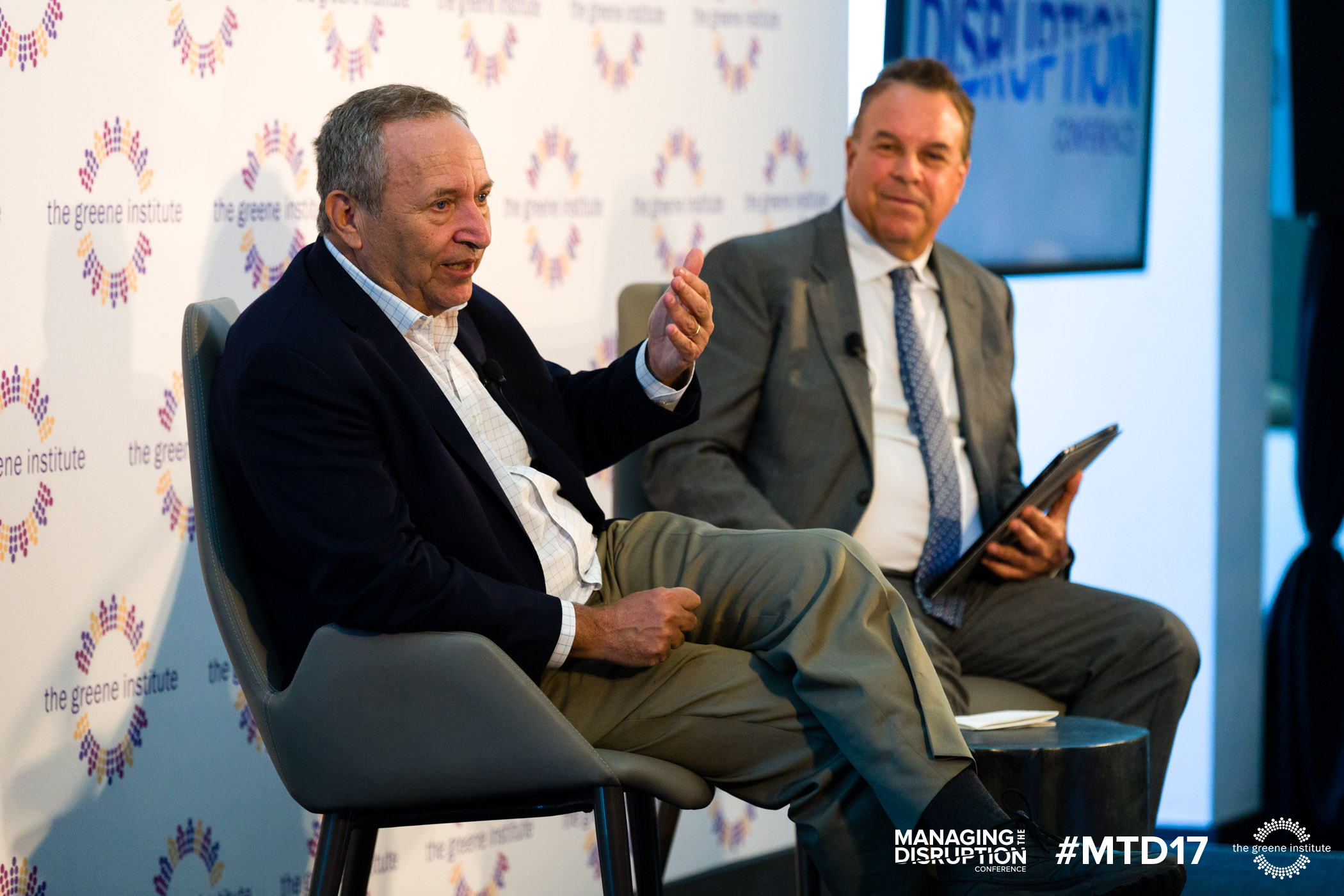 Jeff Greene (right) interviews Larry Summers
