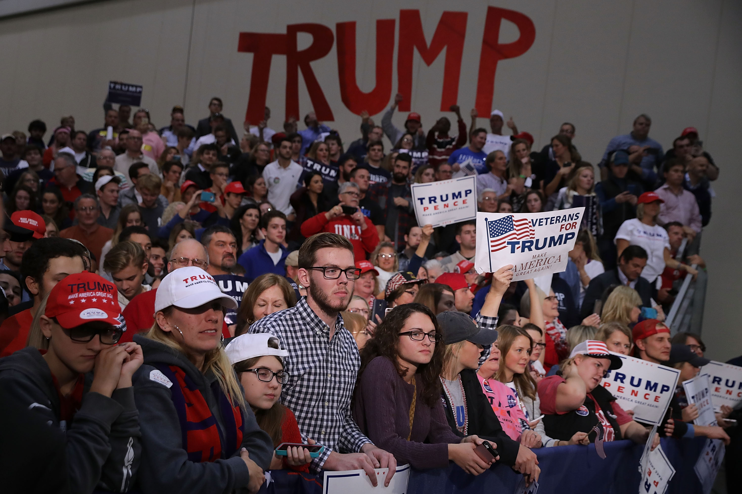 Donald Trump supporters in Grand Rapids, Mich. just before election day last year