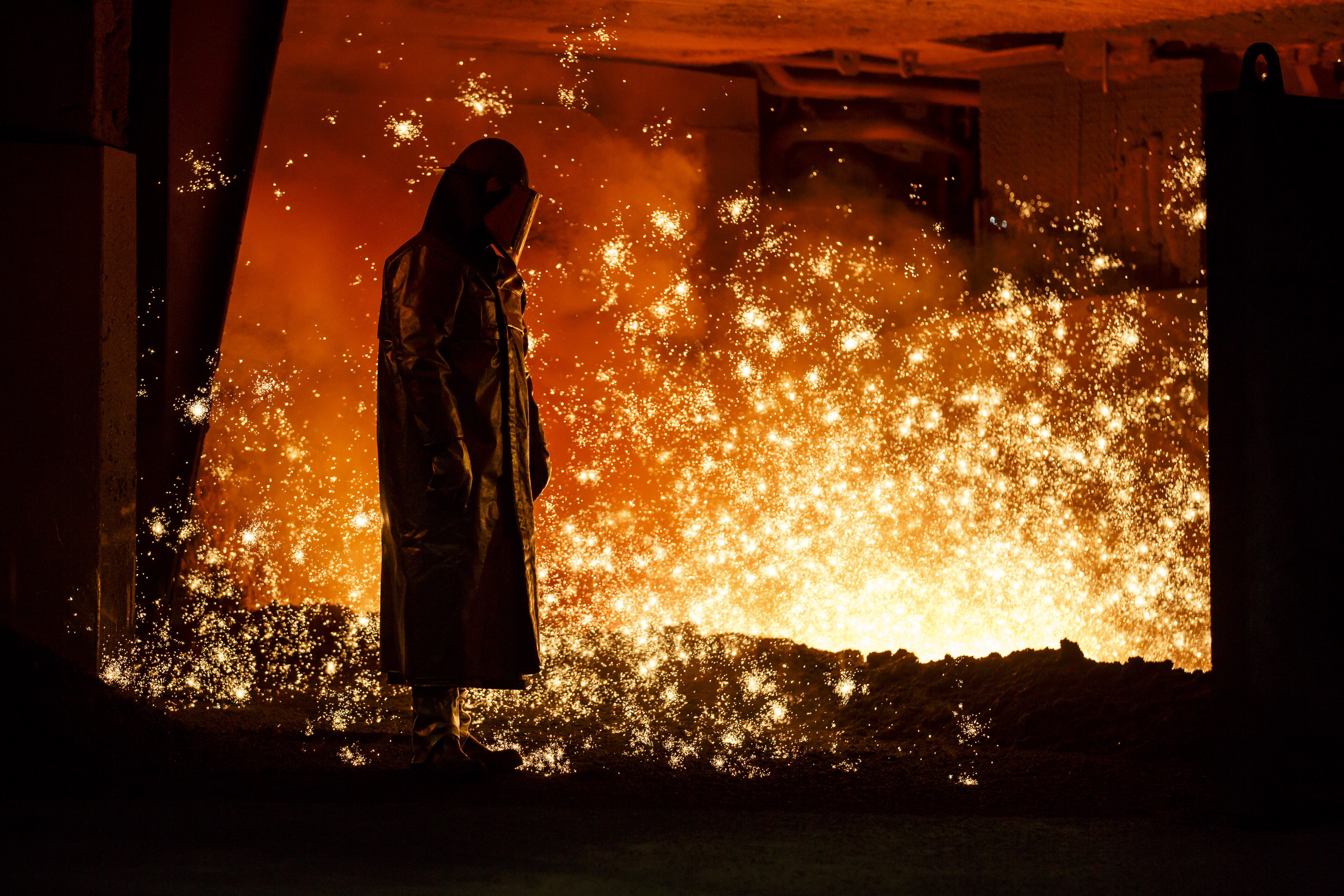 A worker at the Salzgitter AG steelworks in Germany