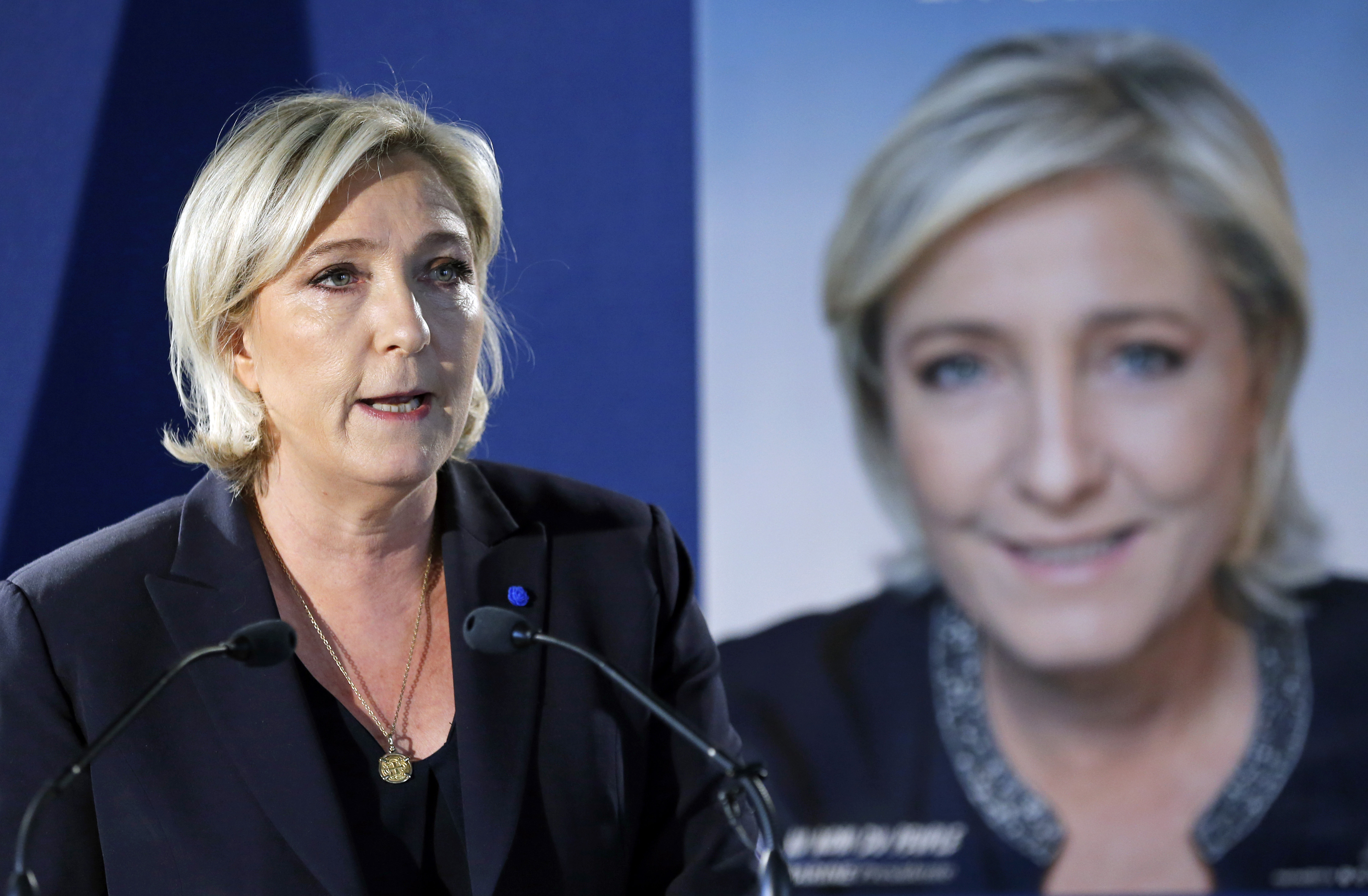 French Presidential Candidate Marine Le Pen Gives A Press Conference In Paris