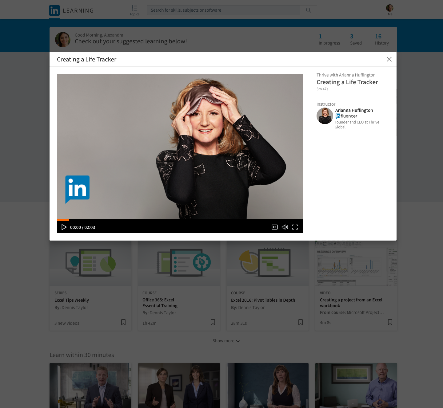 "Arianna Huffington's courses from a new ""Daily Bites"" format for wellness courses by LinkedIn and Thrive Global."