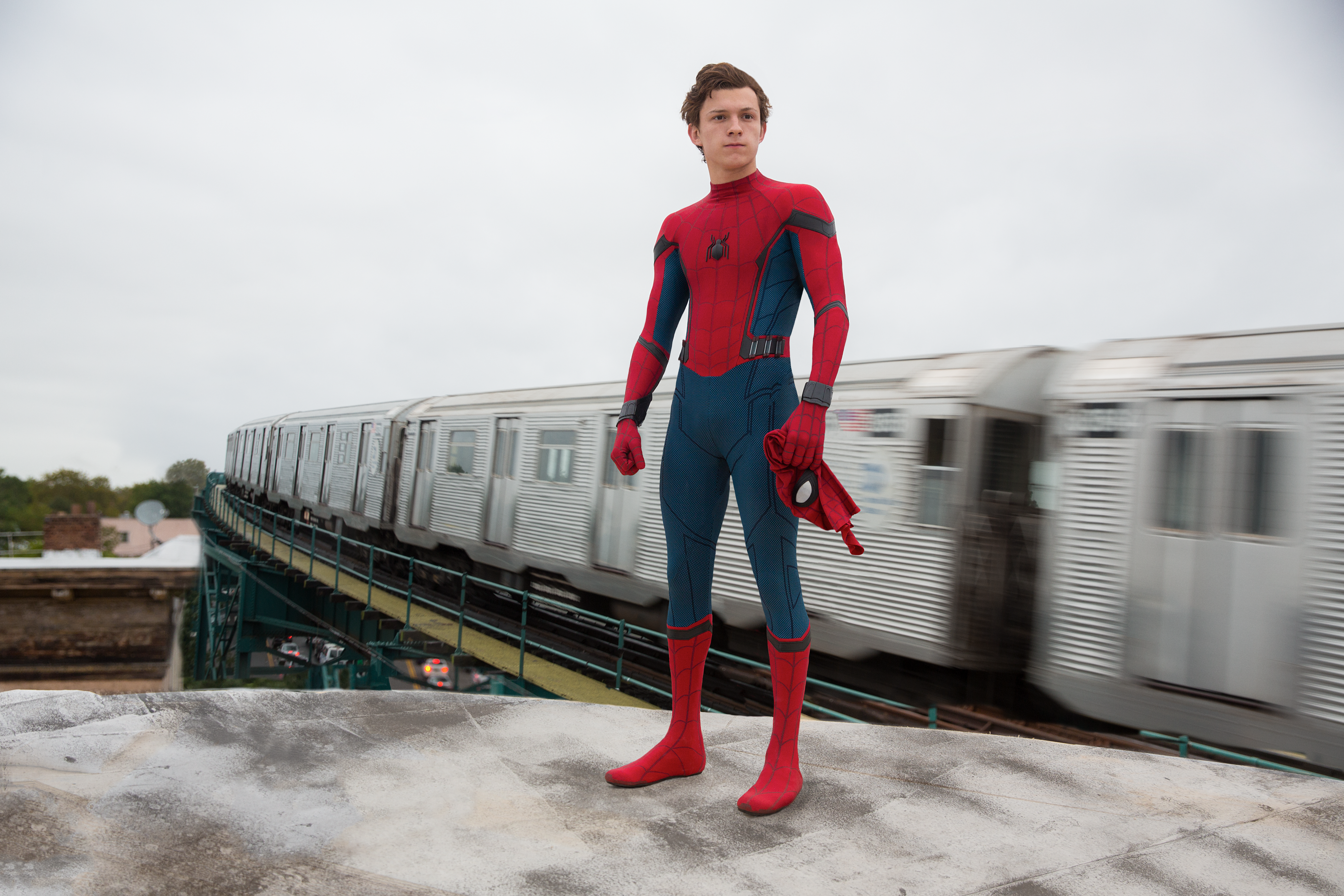 "Actor Tom Holland in Sony's upcoming film ""Spider-Man: Homecoming."""
