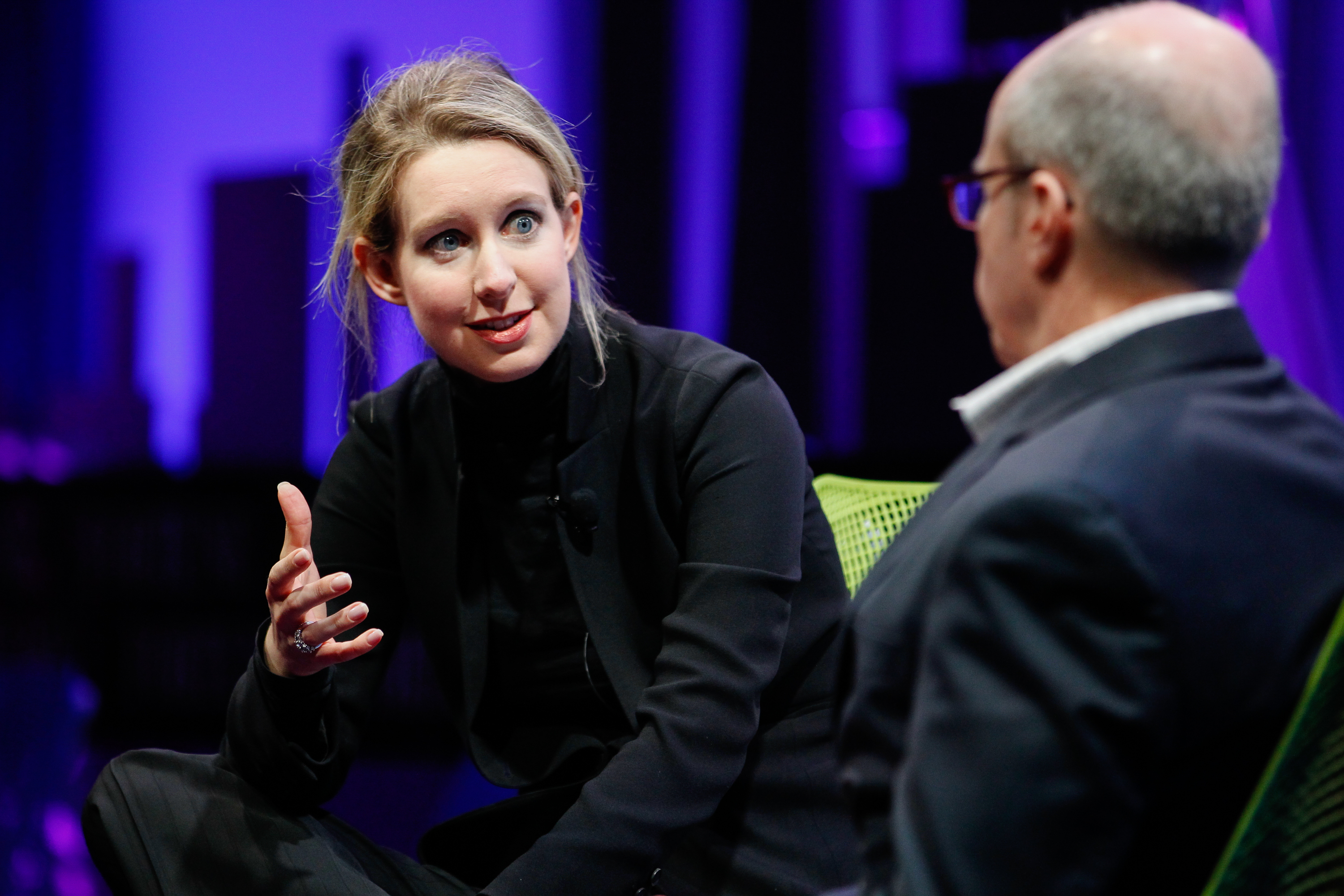 Elizabeth Holmes (L) and Alan Murray speak at the Fortune Global Forum at the Fairmont Hotel on Nov. 2, 2015 in San Francisco.