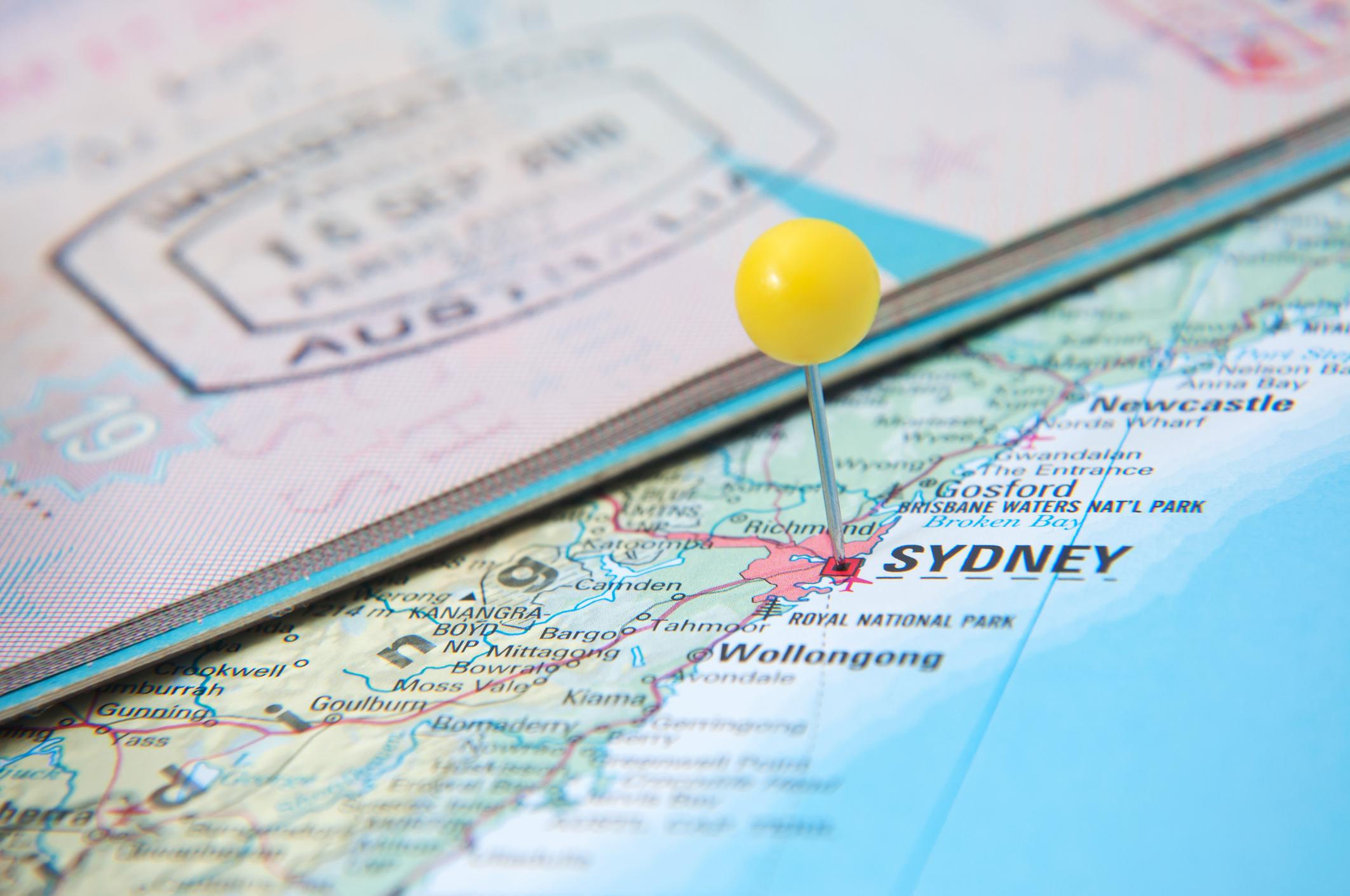 Macro of arrival stamp of Australia in passport