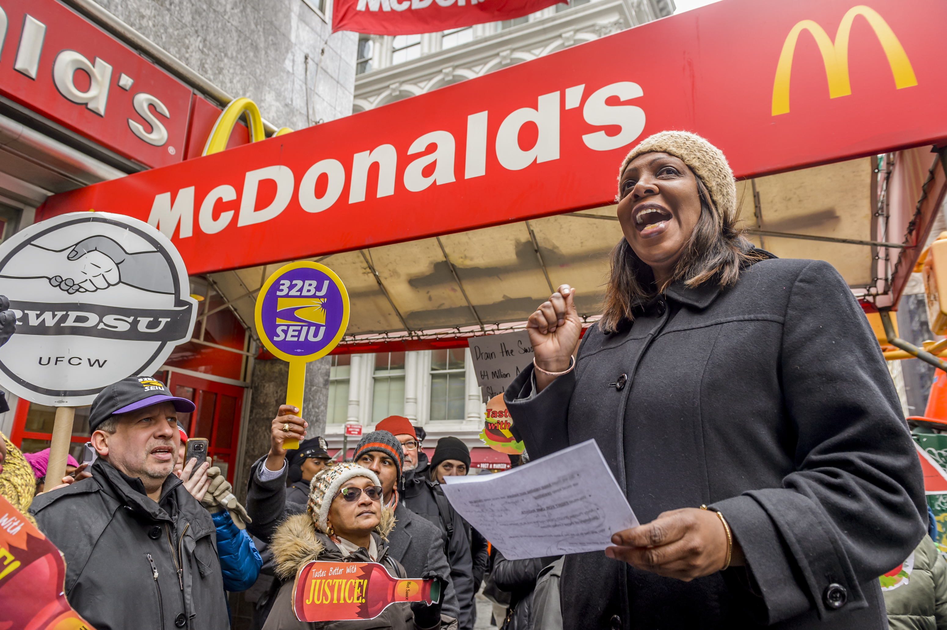 NYC Public Advocate Letitia James during the protest. Days