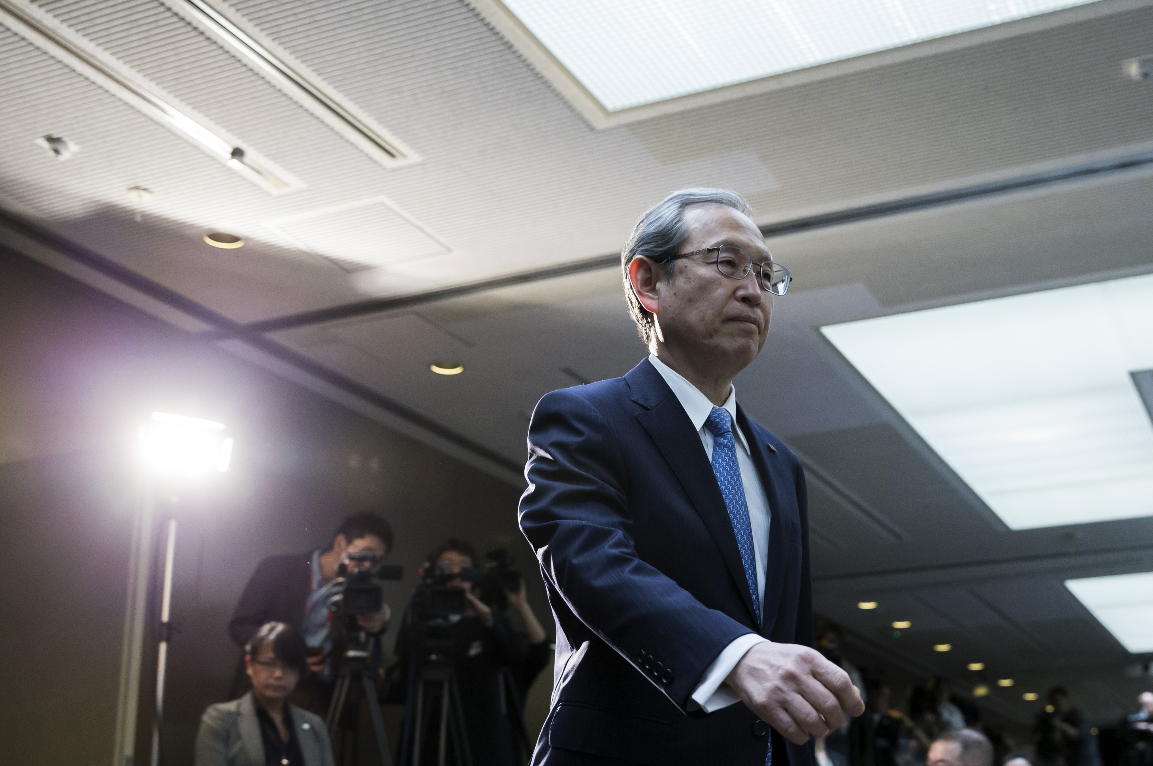 Toshiba Corp. News Conference As The Company Reports Delayed Earnings Results