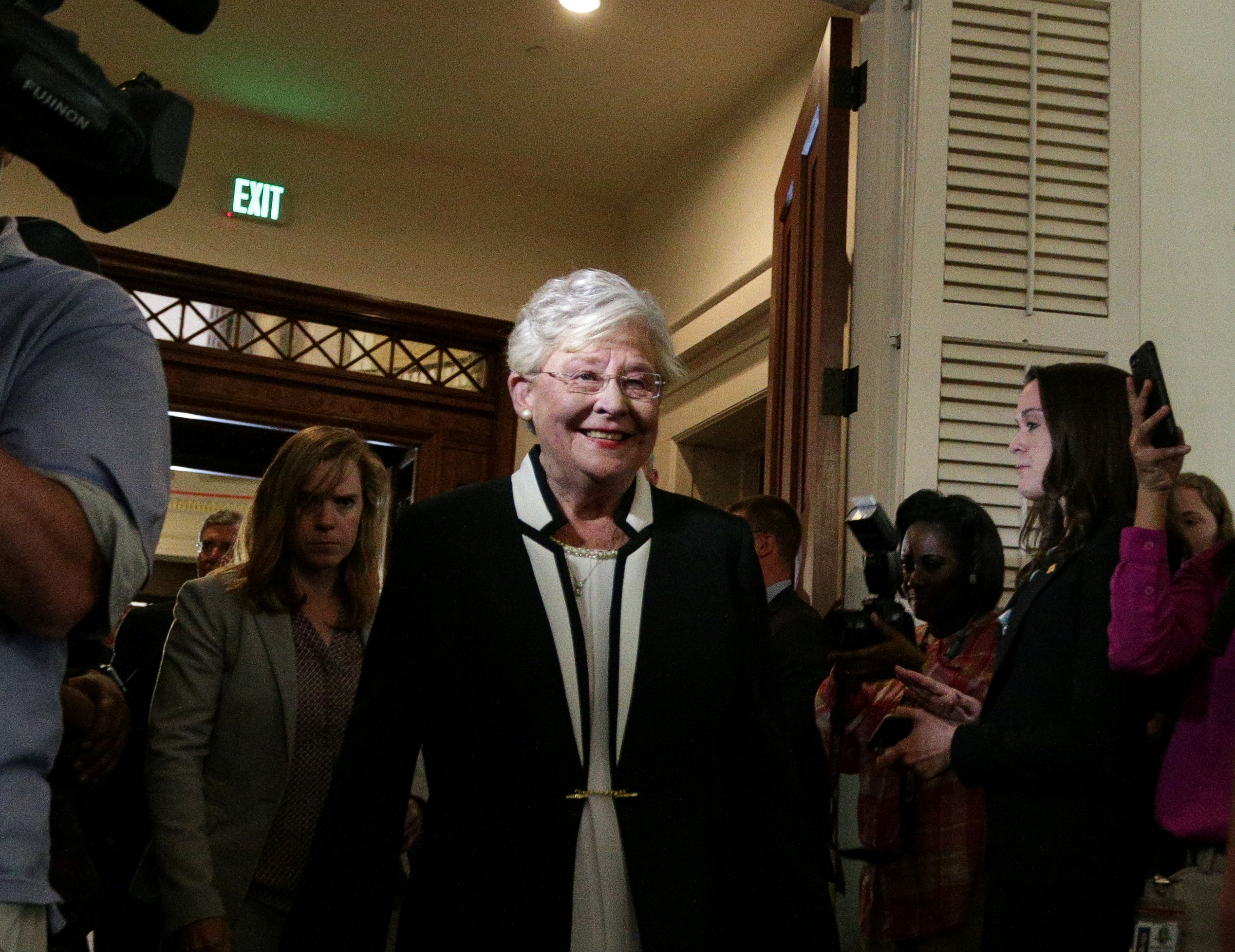 Alabama Lt Governor Kay Ivey enters the house chambers prior to being sworn in as Alabama's new governor in Montgomery