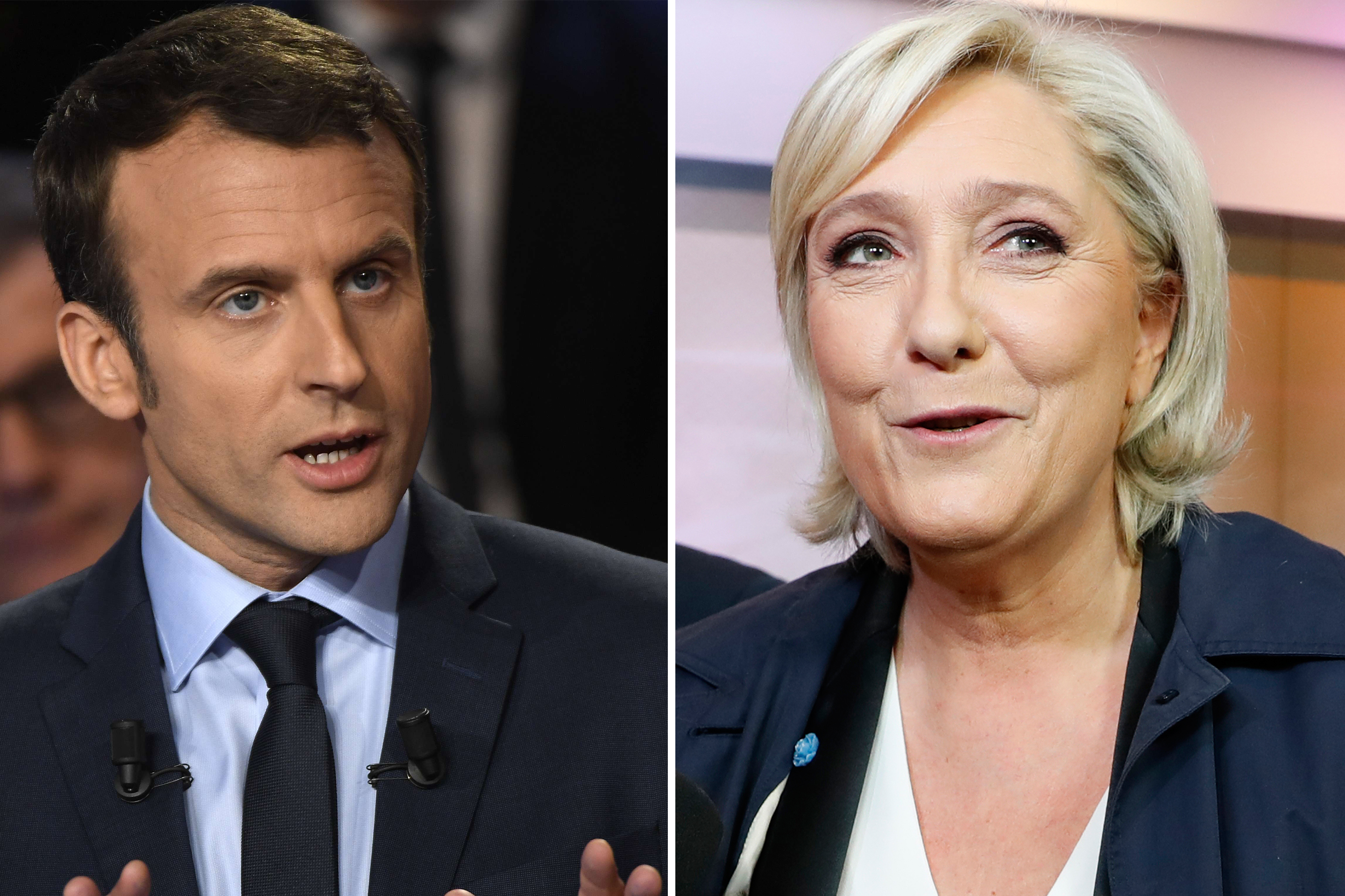 French presidential candidates Emmanuel Macron and Marine Le Pen.