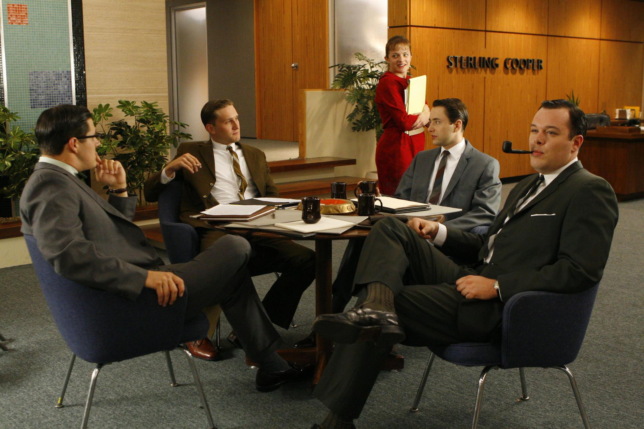 Elisabeth Moss, Michael Gladis, Vincent Kartheiser, Rich Sommer, and Aaron Staton in Mad Men.