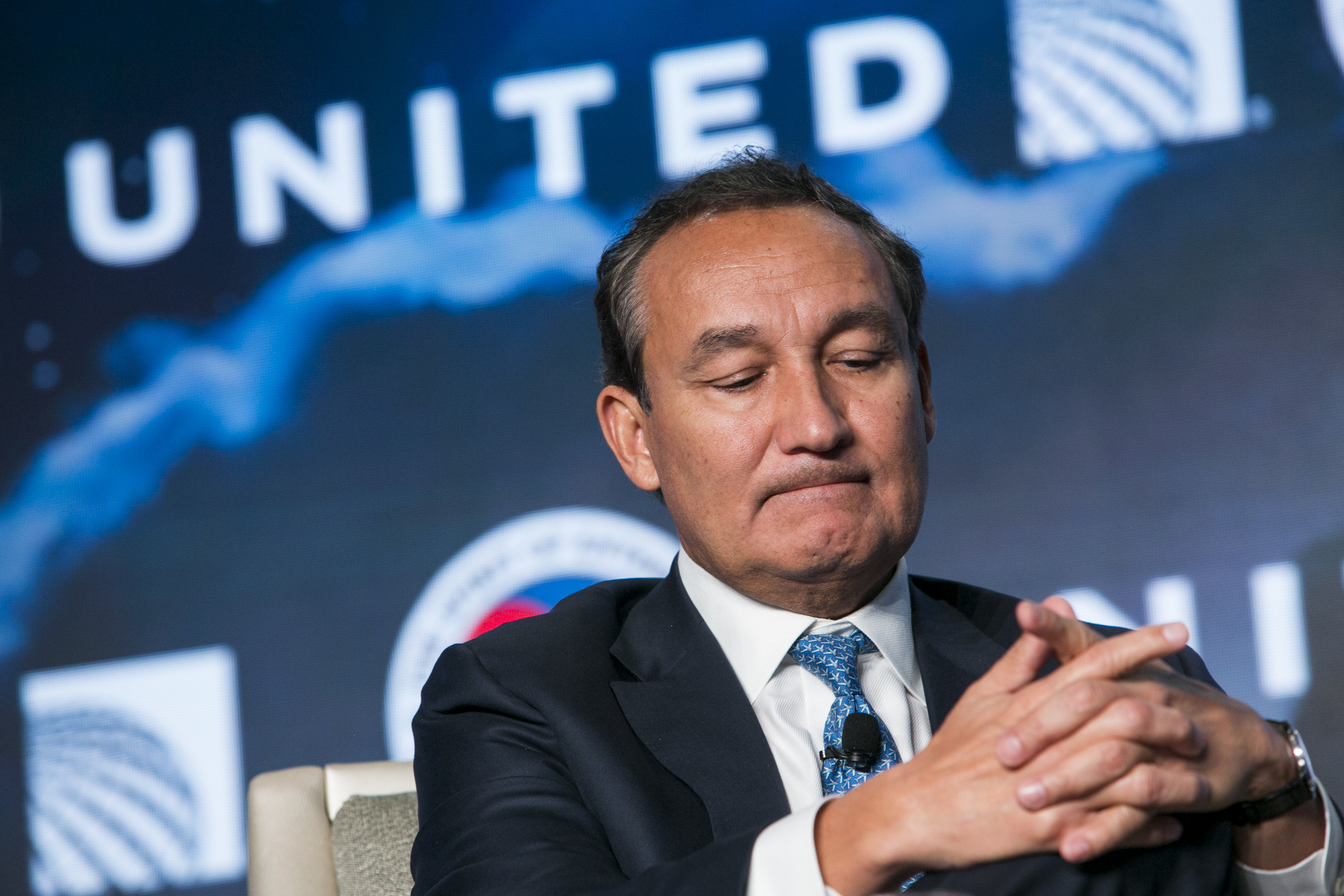 Oscar Munoz, Chief Executive Officer, United Airlines, speaks during the 2017 Aviation Summit hosted by the U.S. Chamber Of Commerce in Washington, D.C., on March 2, 2017.