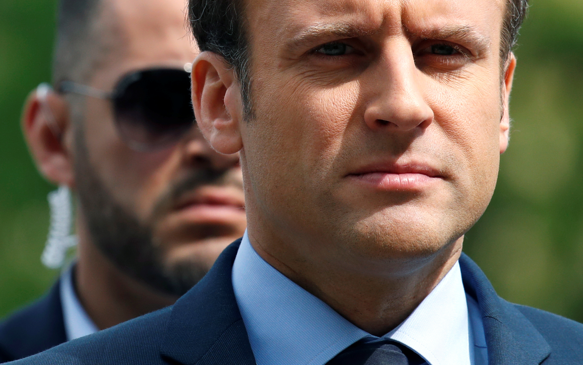 Emmanuel Macron, head of the political movement En Marche !, or Onwards !, and candidate for the 2017 French presidential election, attends a ceremony in Paris