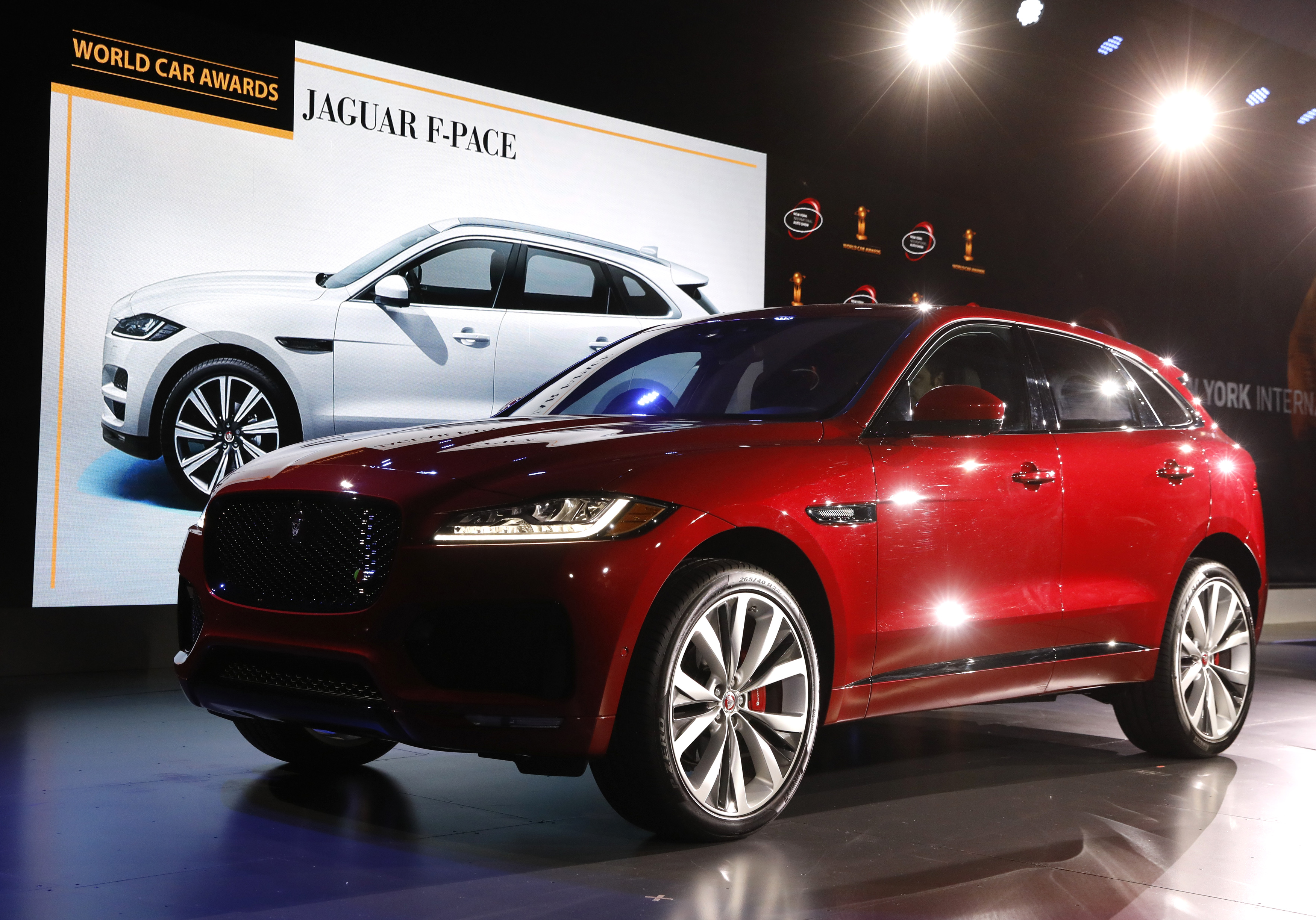 The Jaguar F-Pace is displayed at the 2017 New York International Auto Show in New York